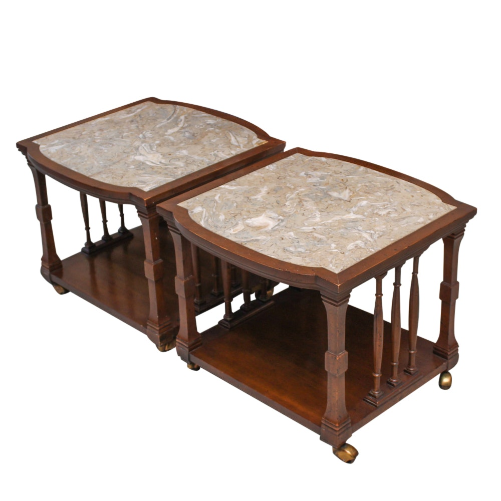 Mid-Century Stone Top Side Tables