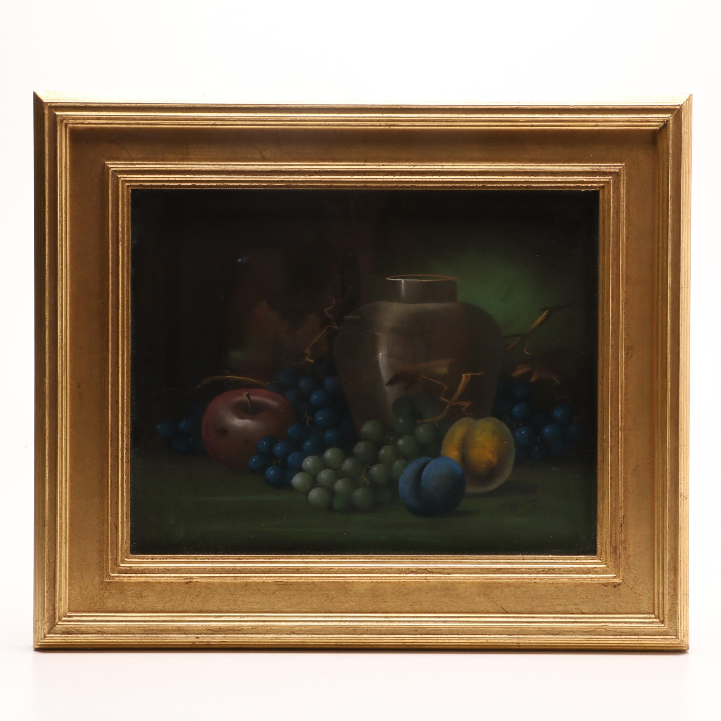 "George Hadland Pastel Drawing ""Still Life with Grapes and Jar"""