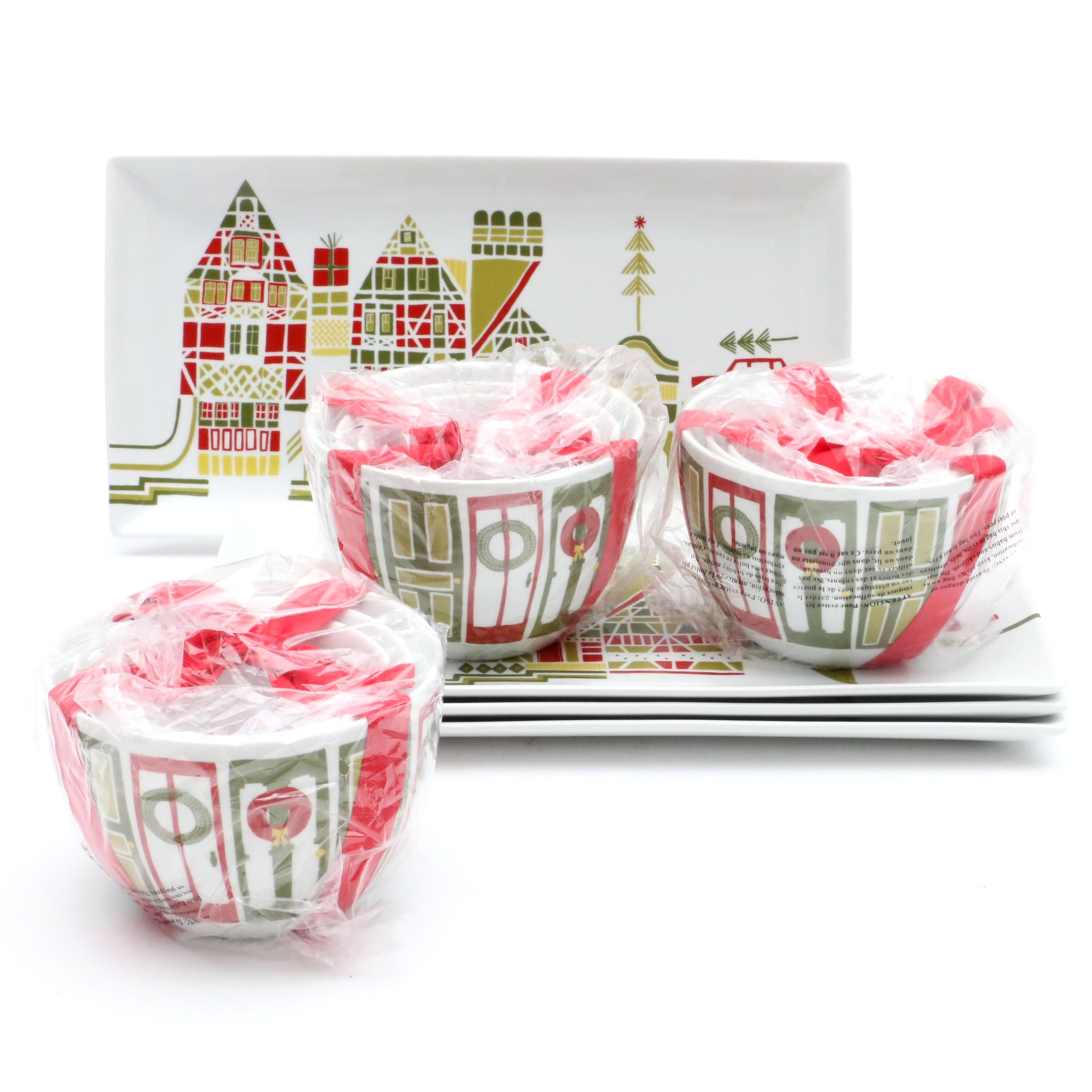 "Crate and Barrel ""Yule Town"" Tableware by Julia Rothman"