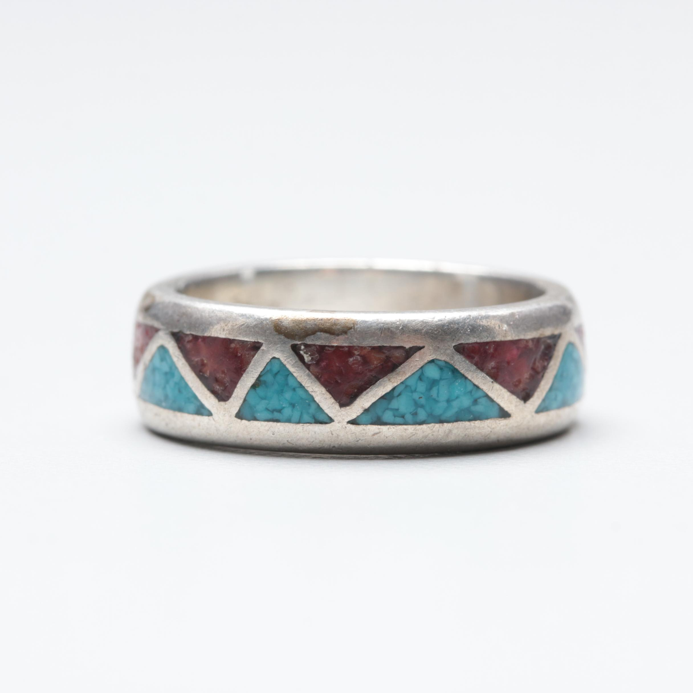 Southwestern Style Sterling Silver Stone Inlay with Resin Ring