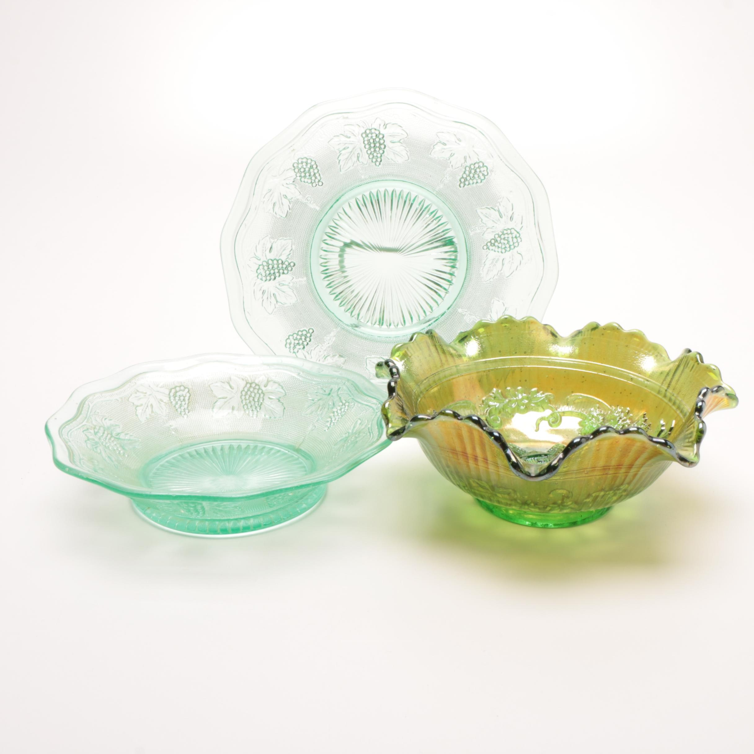 Vintage Pressed Glass and Carnival Glass in Green