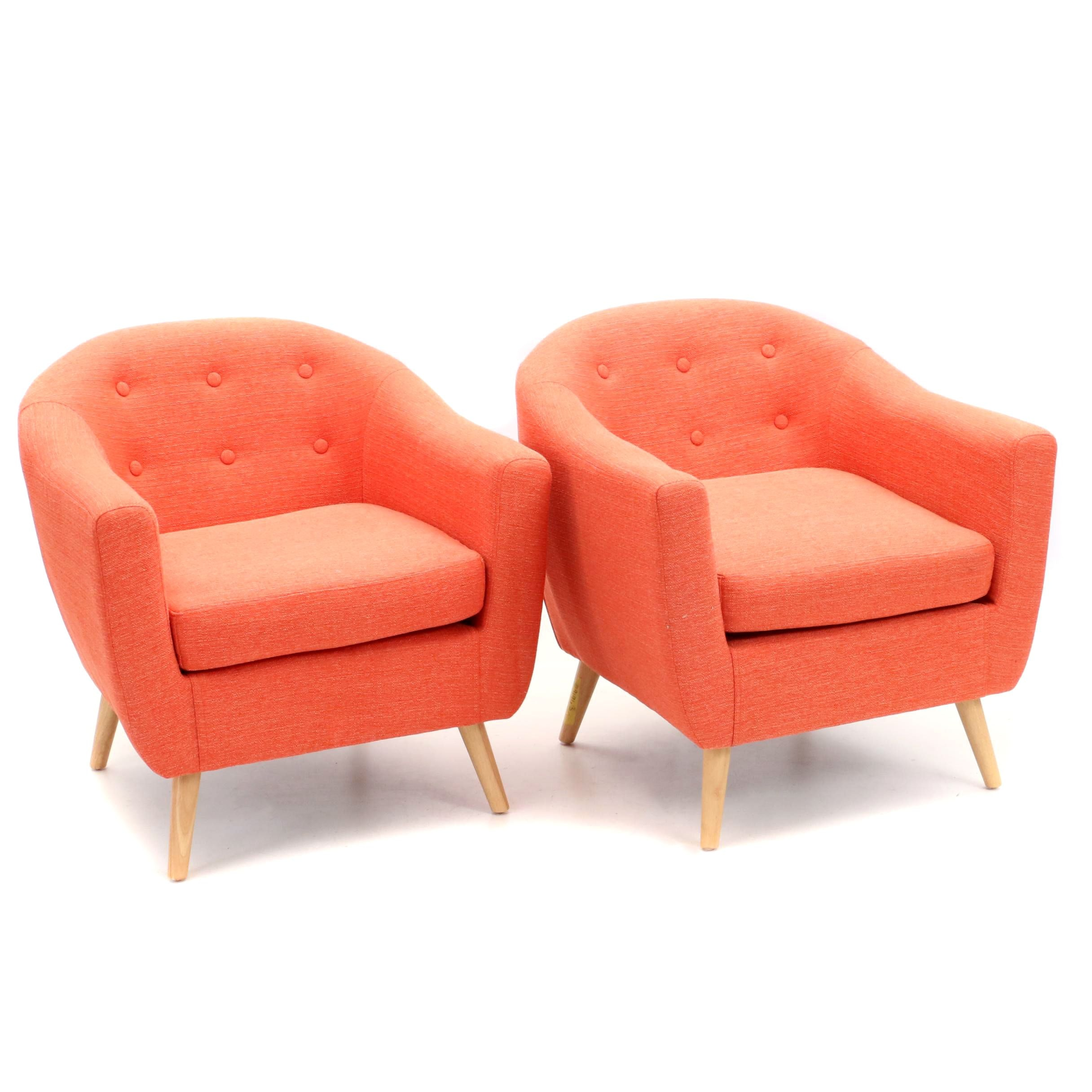 Two  Orange Upholstered Armchairs