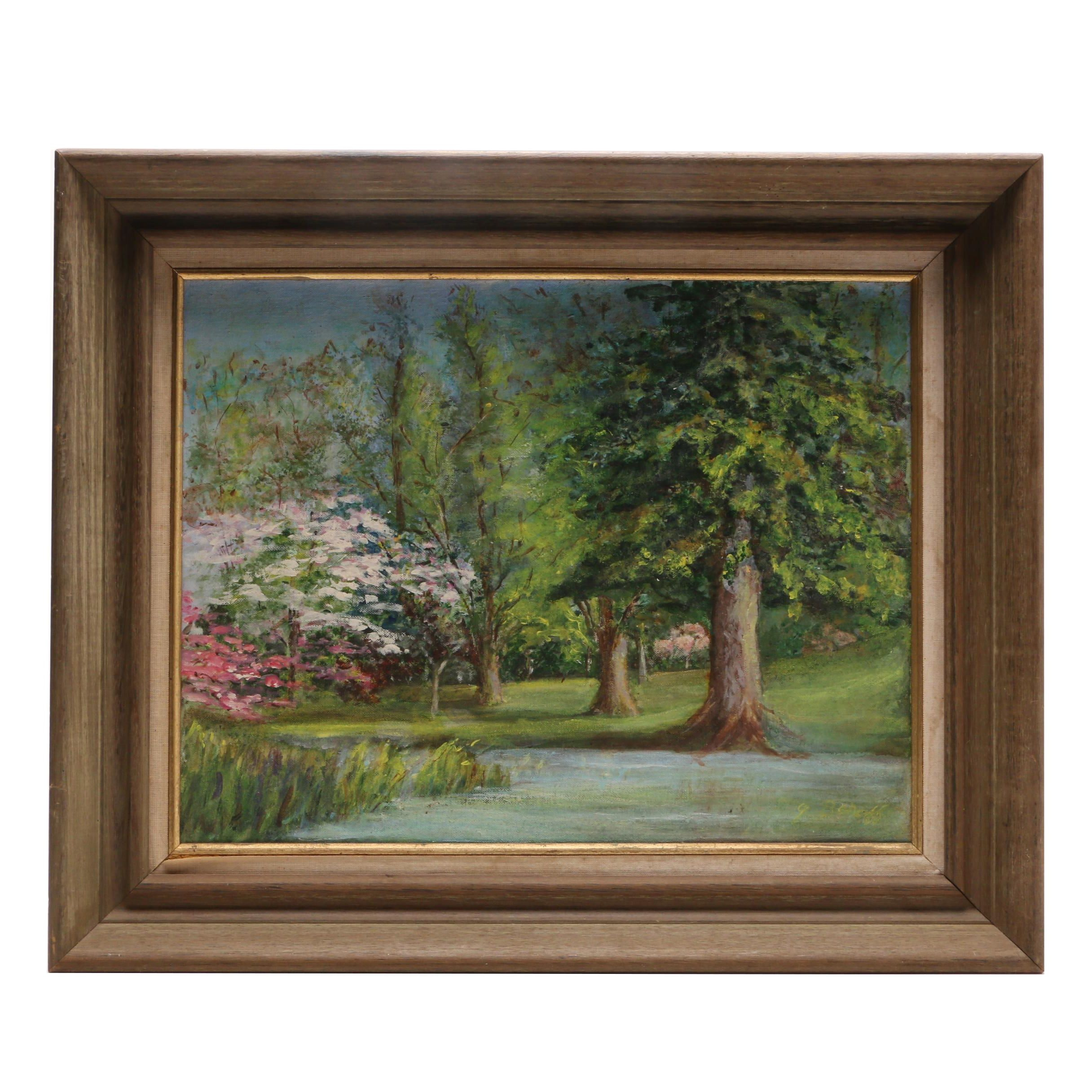 "Goldy Baraff 1973 Oil Landscape Painting ""Fort Hunt Park Spring"""