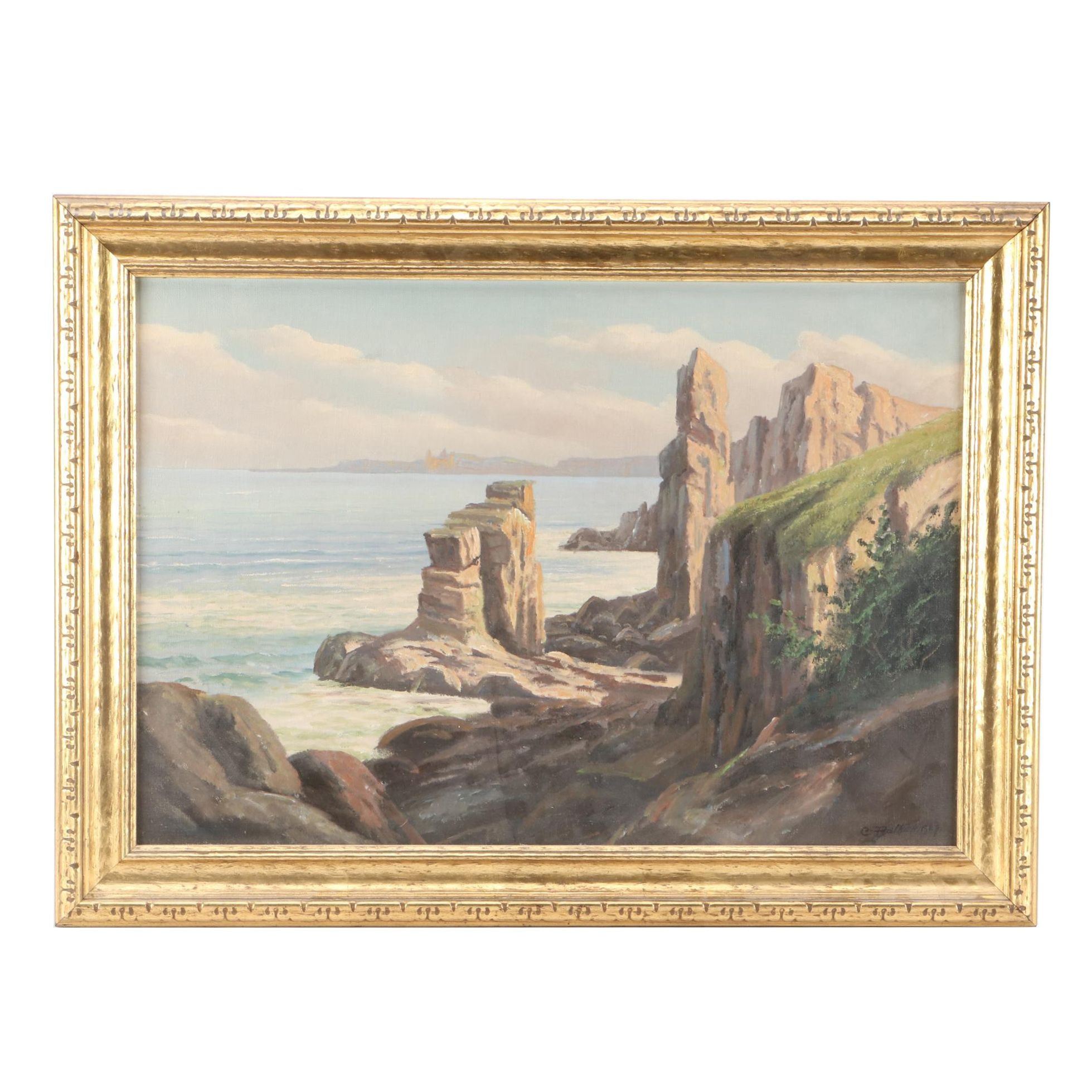 C. Balken Oil Painting of Coastal Landscape