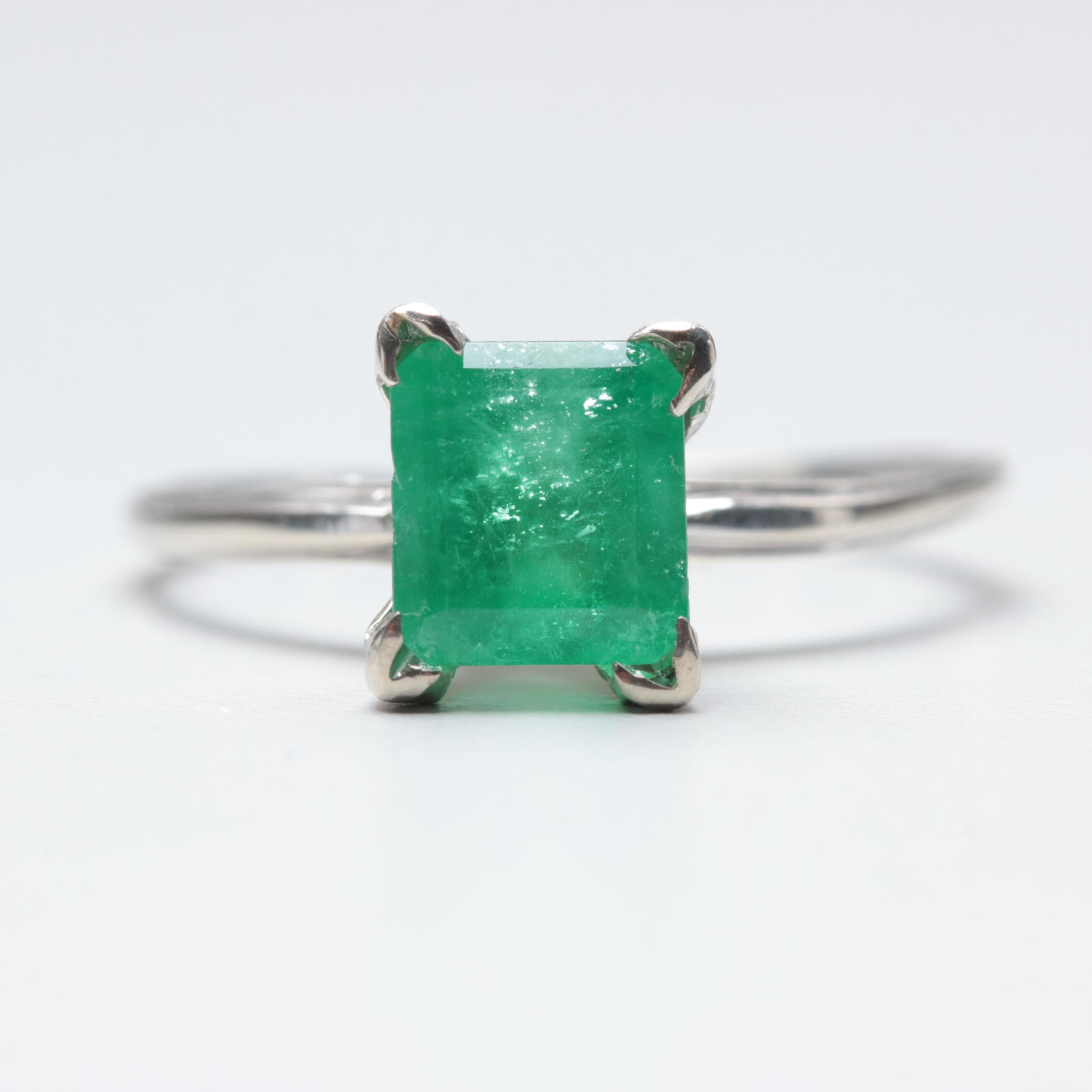 10K and 14K White Gold Emerald Ring