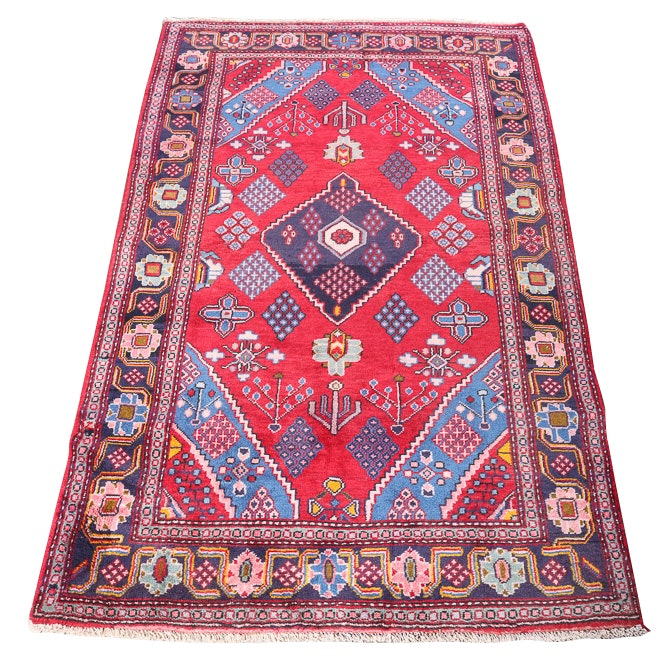 Vintage Hand-Knotted Persian Josheghan Wool Area Rug