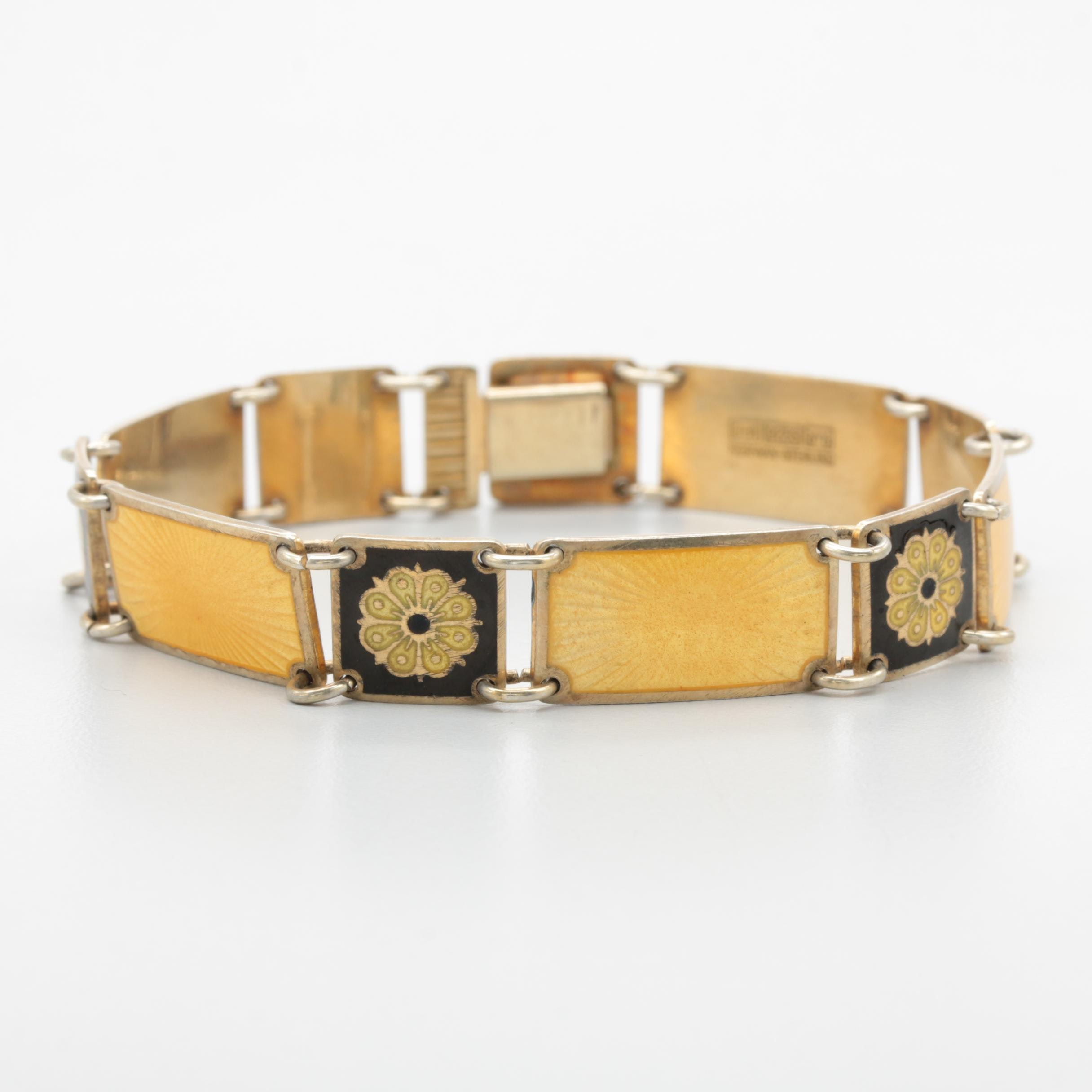 David Andersen Gold Wash on Sterling Silver Enamel Bracelet