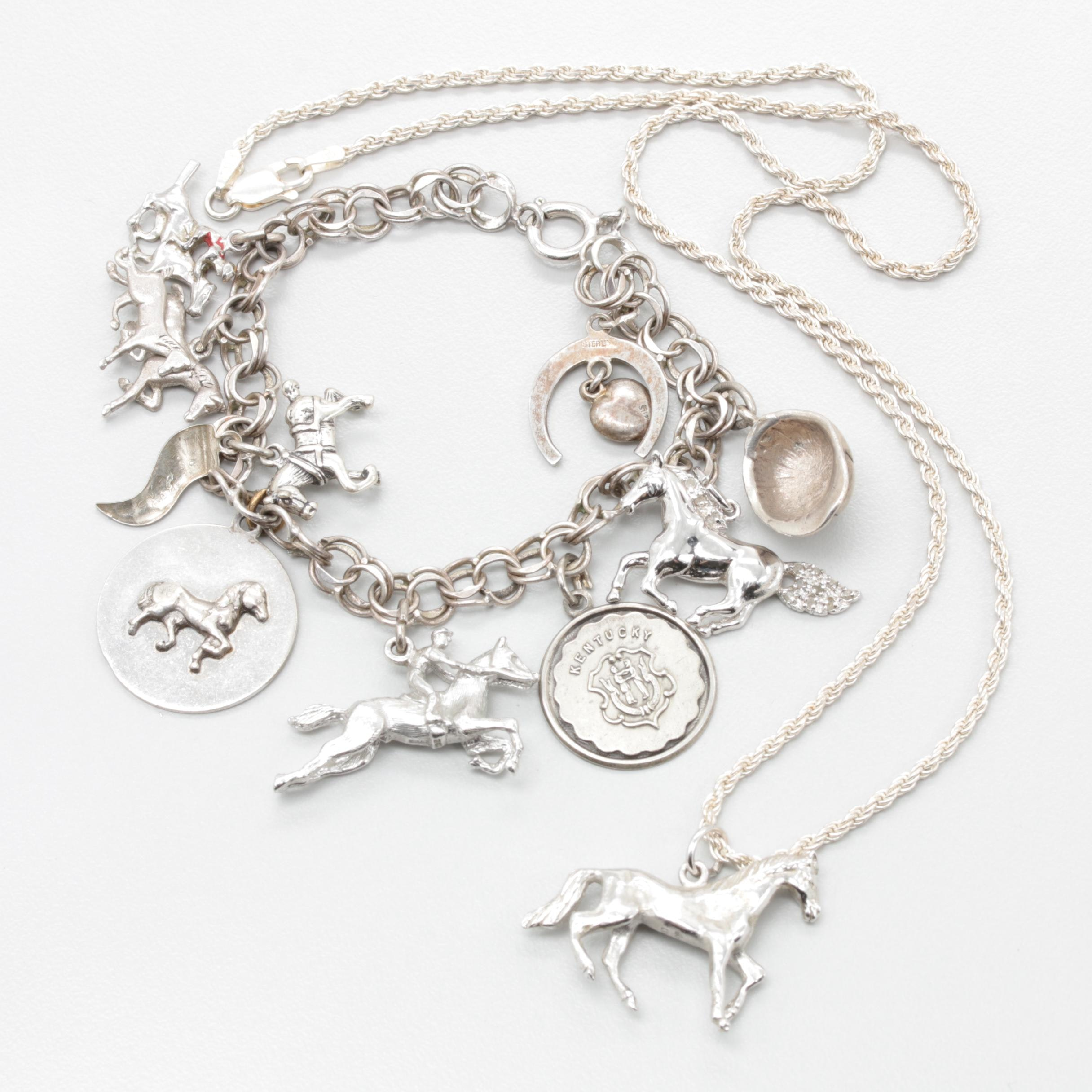 Sterling, 900, 850 Silver and Silver Tone Necklace and Charm Bracelet