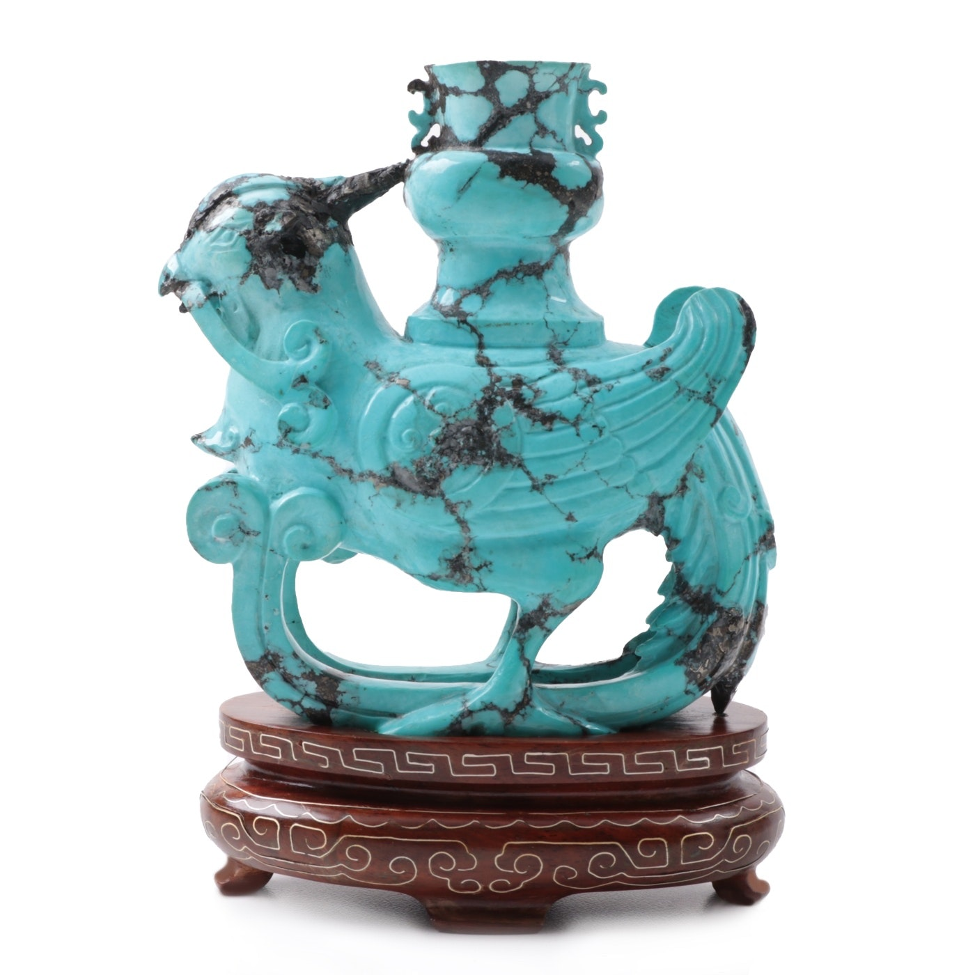 Chinese Turquoise Dyed Howlite Carved Phoenix Incense Burner