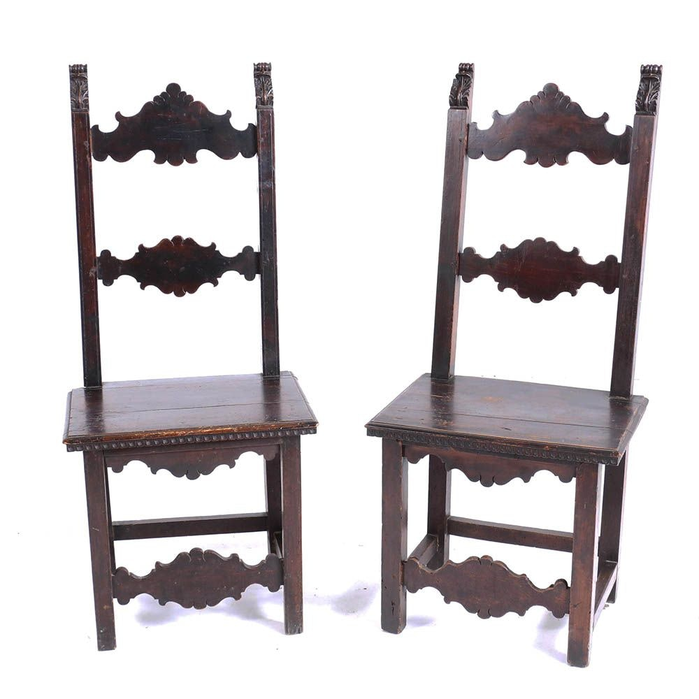 Pair of Baroque Style Walnut Side Chairs, 18th/19th Century