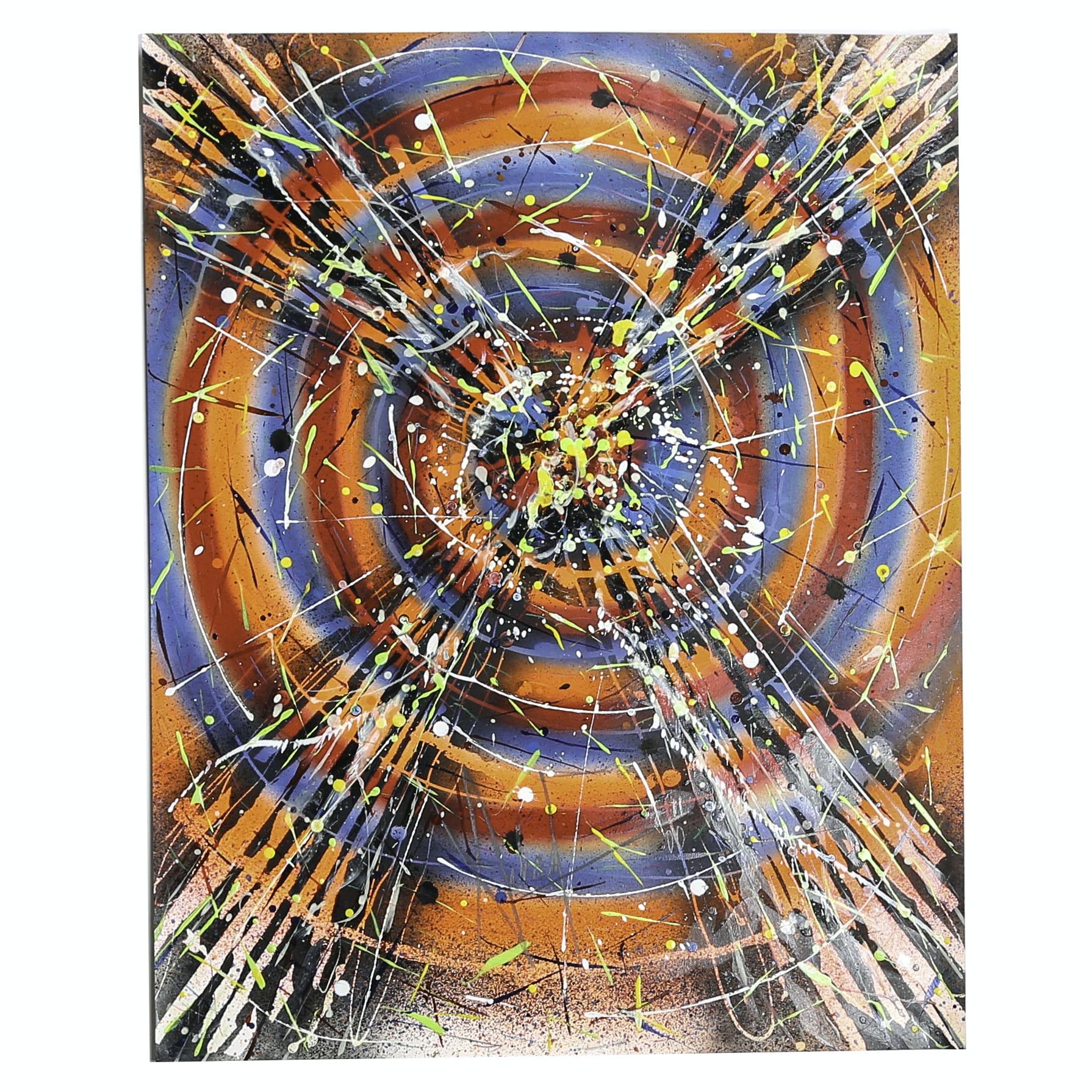 "Michael Schad Johnstone Mixed Media Painting ""Hallucinogenic Target A"""