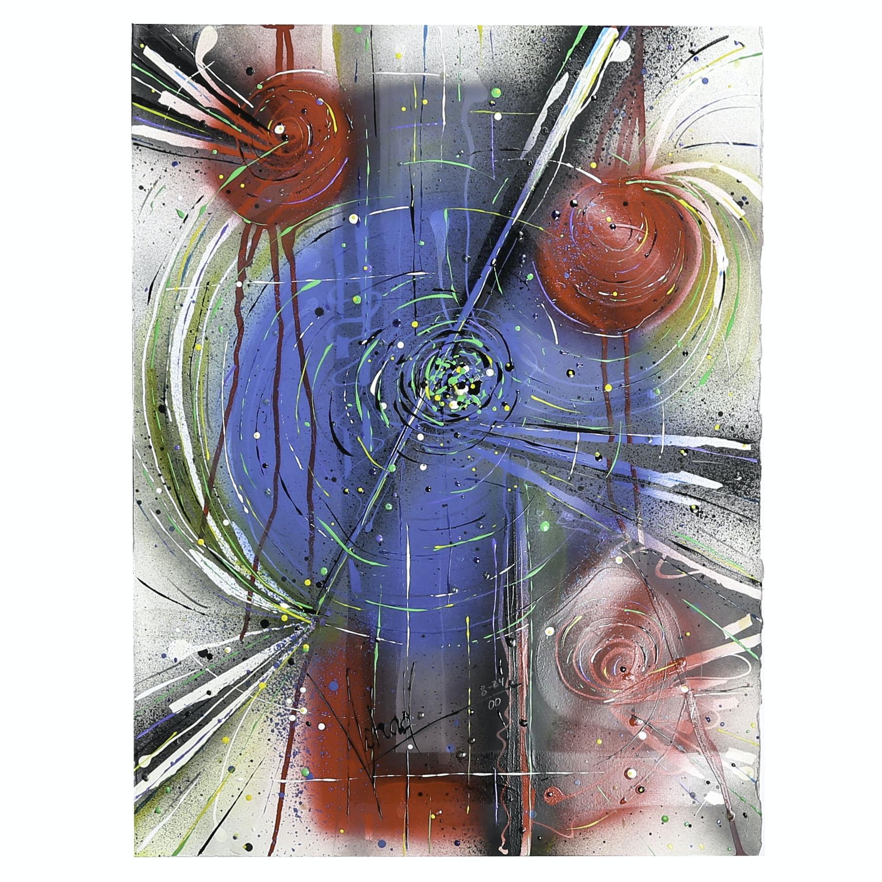 "Michael Schad Johnstone Mixed Media Painting ""Geometric Formation - Blue"""