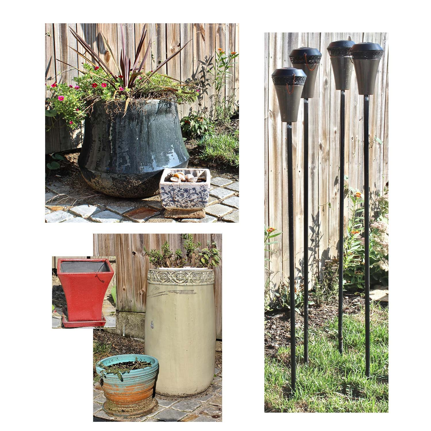 Ceramic Planters and Tiki Torches