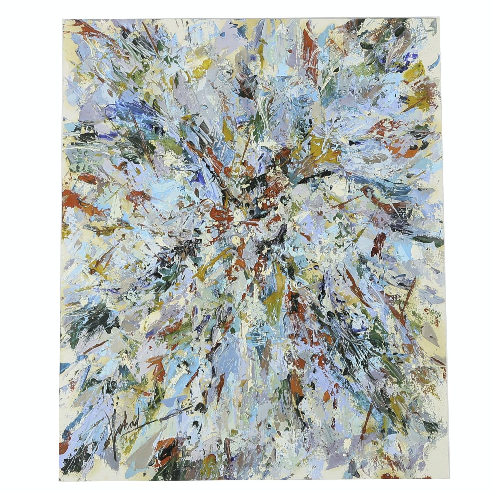 "Michael Schad Johnstone Acrylic Painting ""Wild Flowers - Orange"""