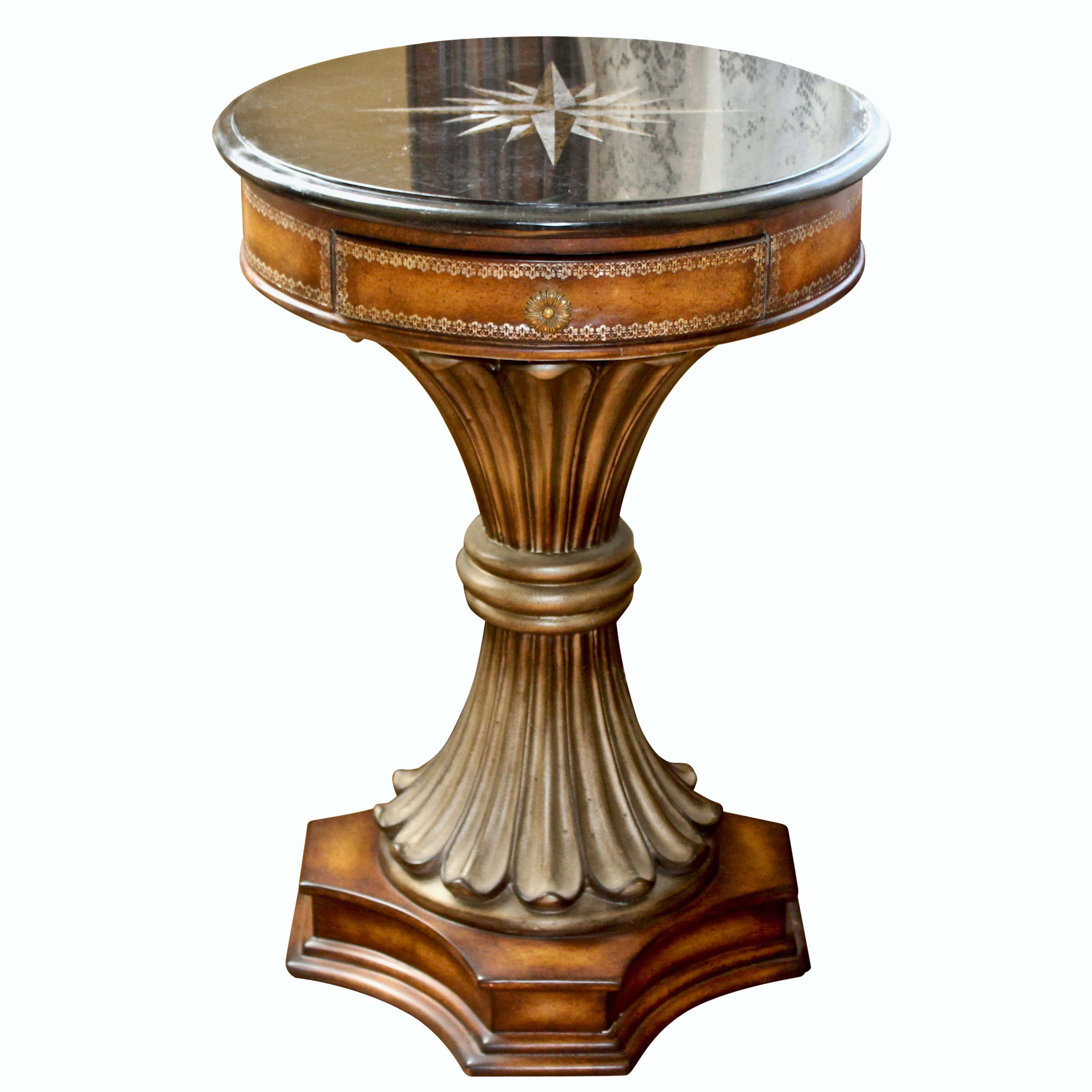 Vintage Wooden Round Accent Table