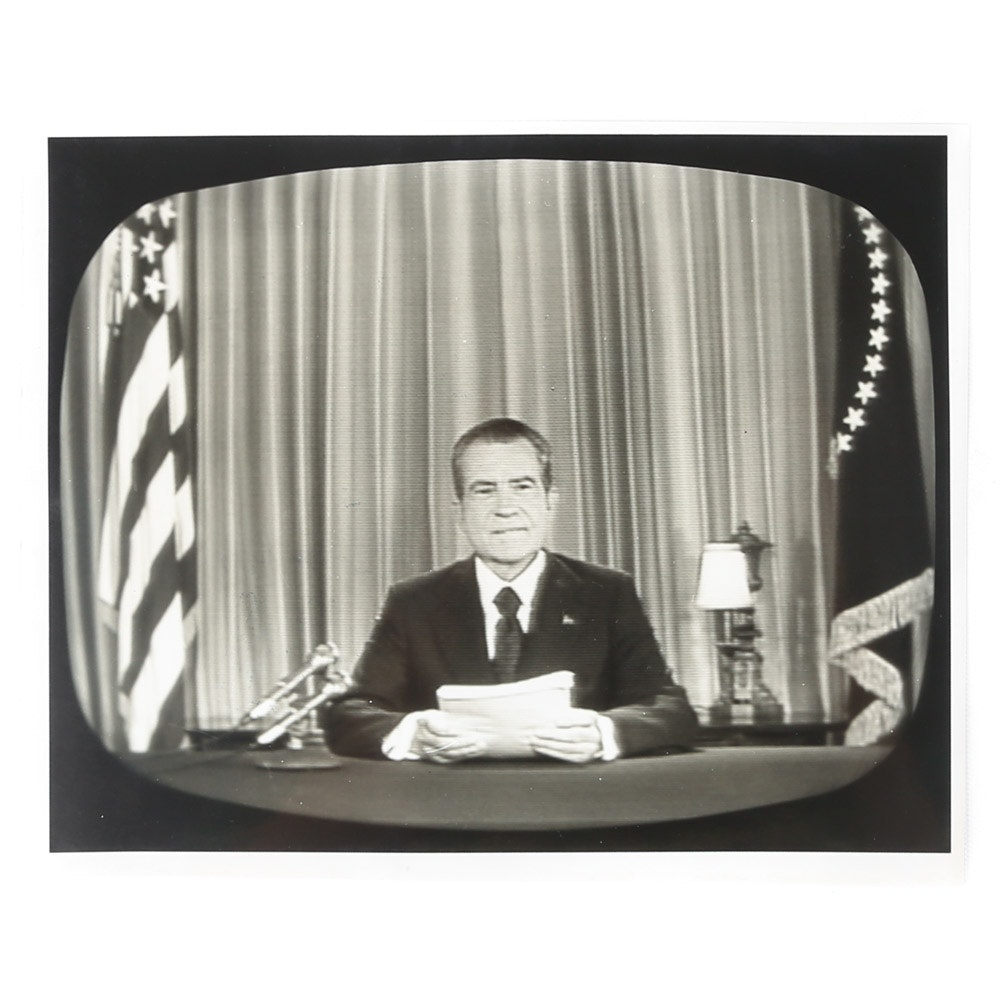 1973 Photograph of President Richard M. Nixon Speaking on Television