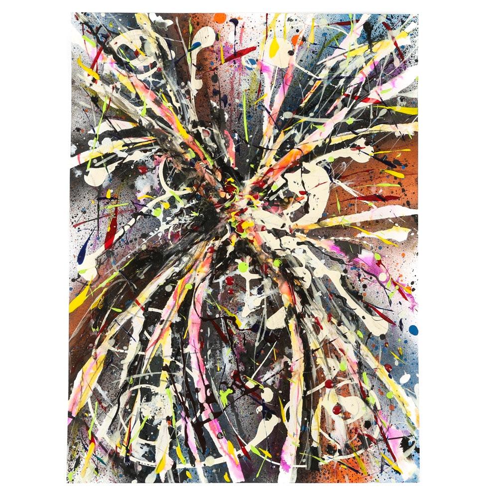 "Michael Schad Johnstone Acrylic Painting ""Solar Sunset"""
