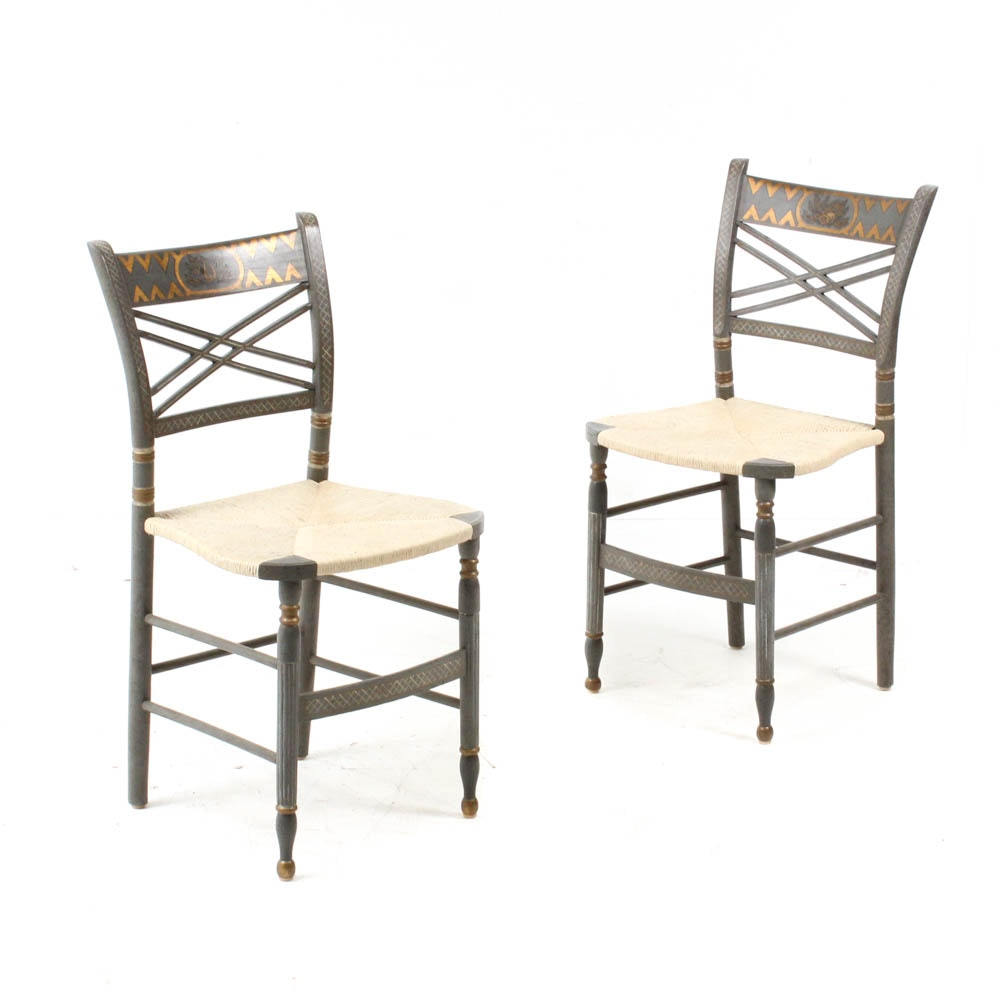 Sheraton Style Painted Side Chairs with Rush Seats