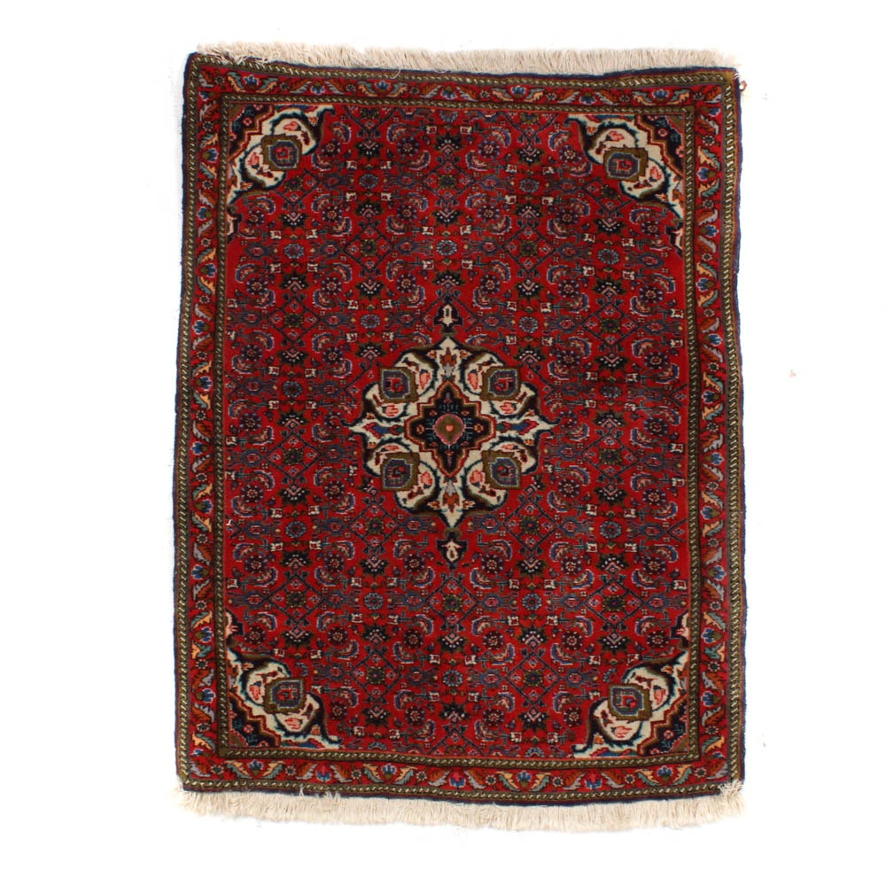 Semi-Antique Hand-Knotted Persian Bijar Accent Rug