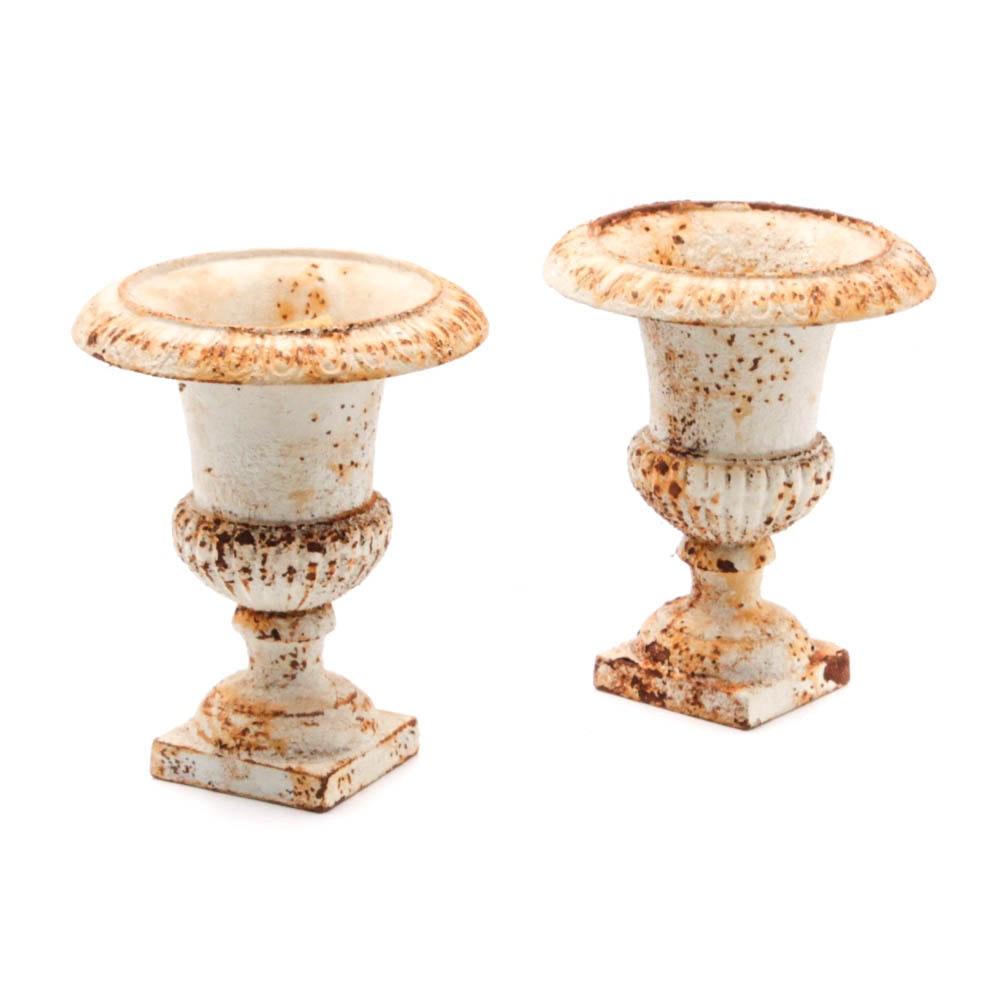 Vintage White Cast Iron Urns