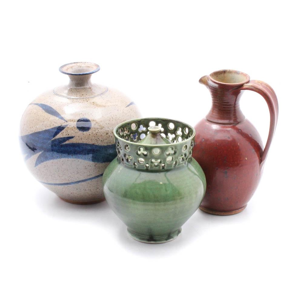 Glazed Pottery Vase, Pitcher and Jar