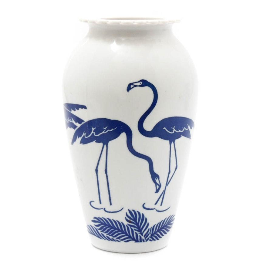 Anchor Hocking Fire King Vitrock Blue Flamingo Vase Ebth