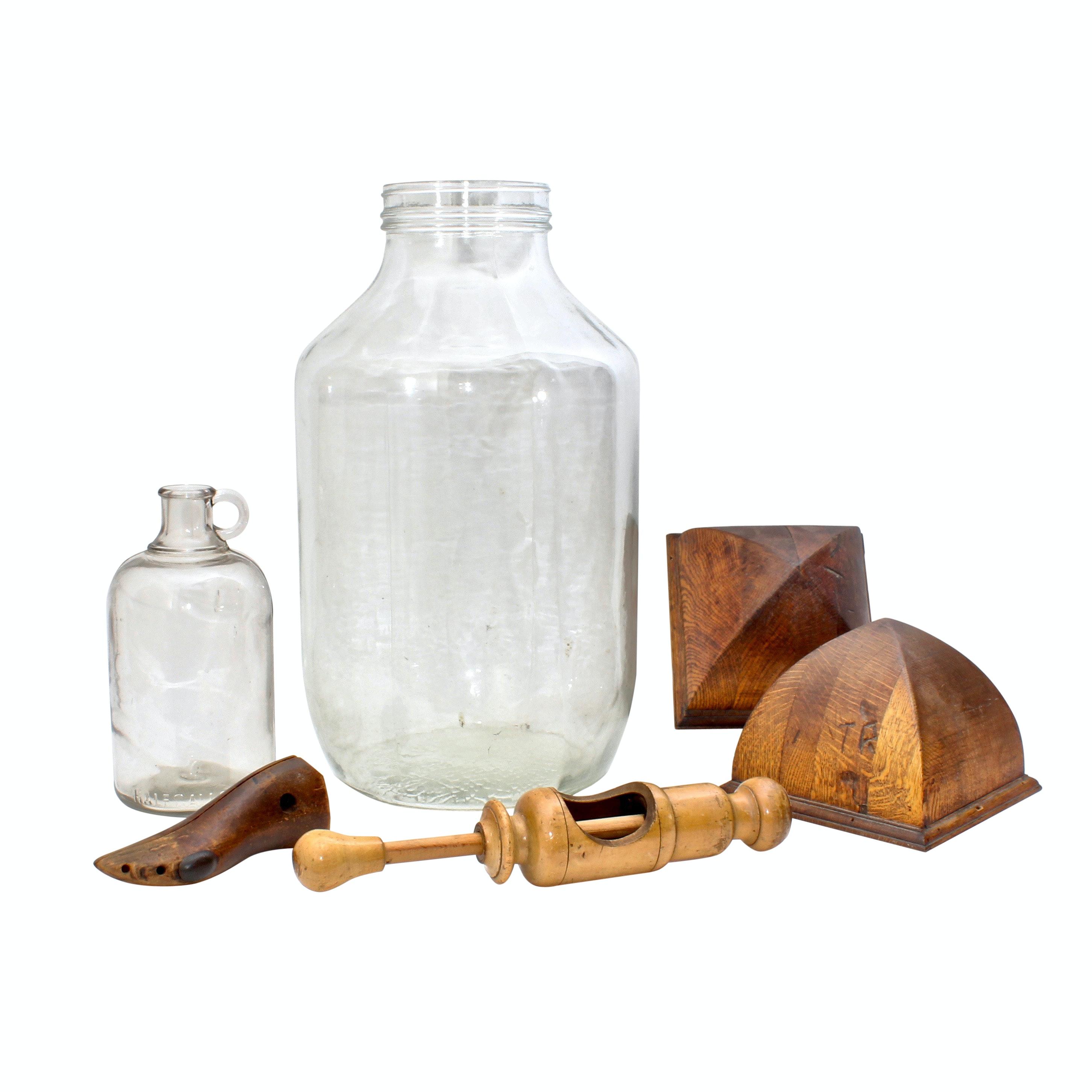 Two Vintage Glass Jugs and Kitchenalia