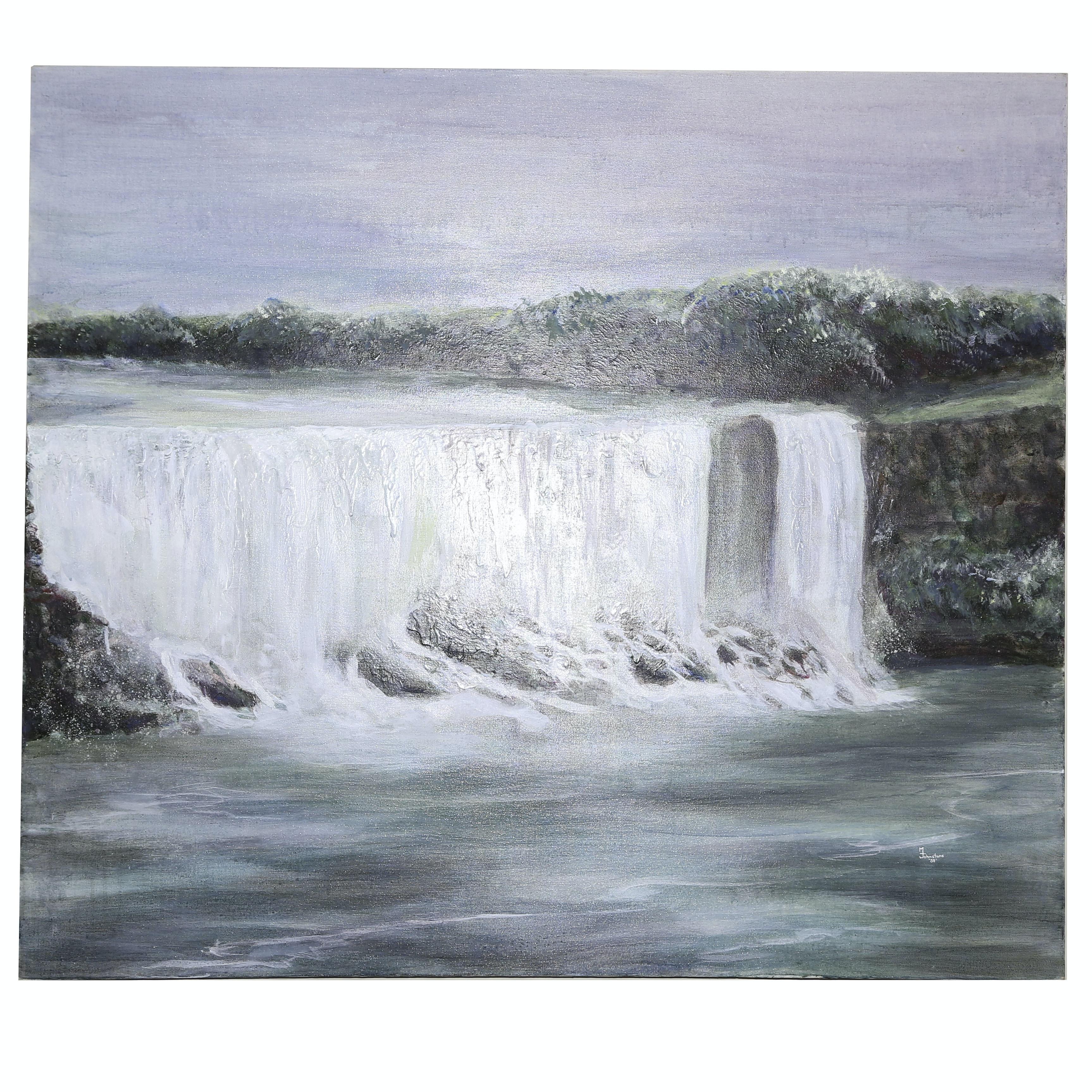 "Michael Schad Johnstone Acrylic Painting ""Buffalo Falls"""