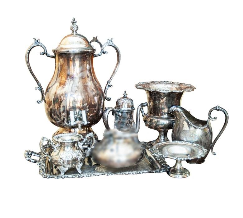 Silver Plate Hot Water Urn, Teaware and Serveware