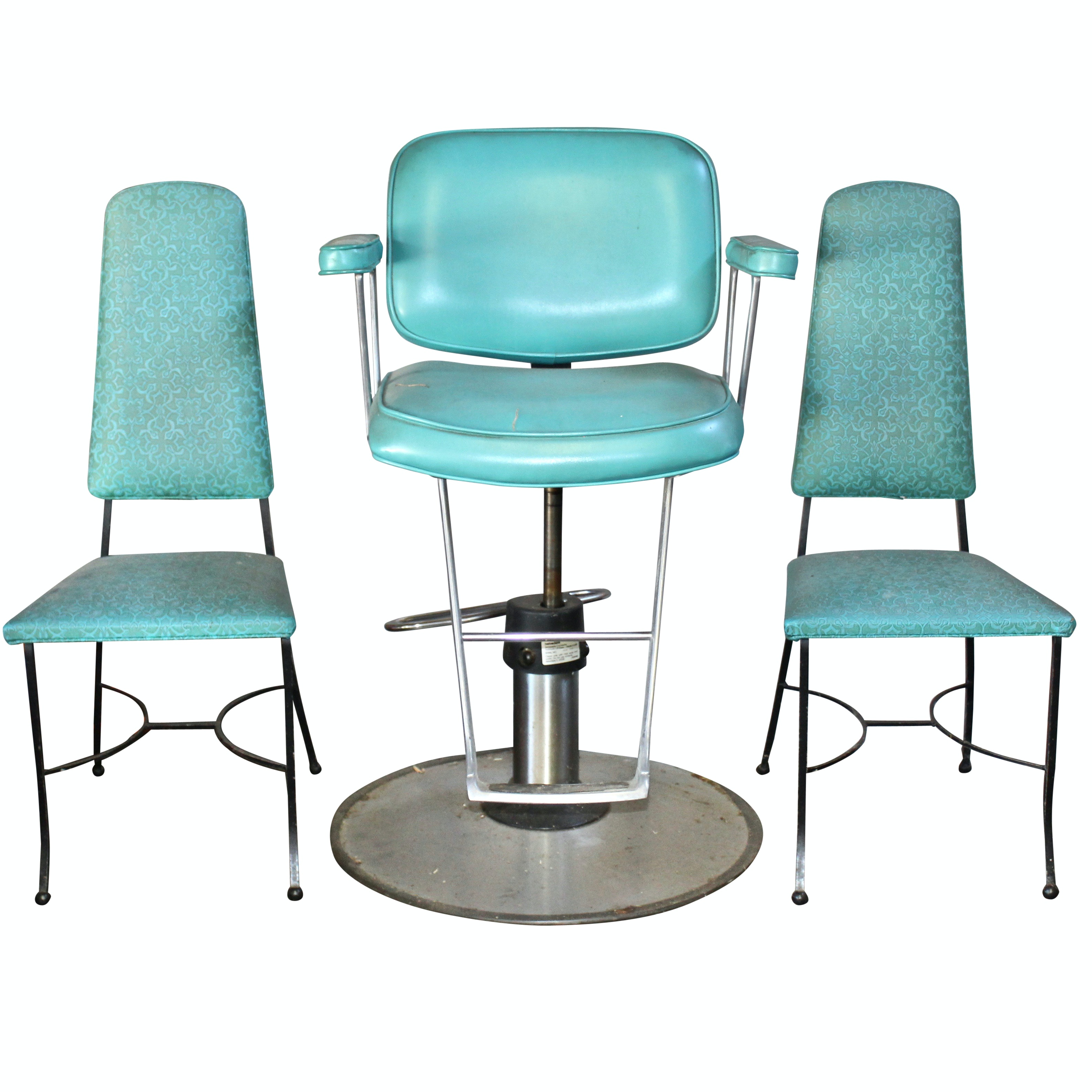 Vintage Hair Salon Chair and Waiting Chairs