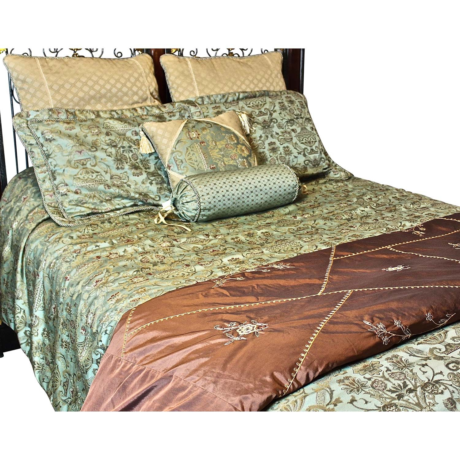 Queen Size Green Decorative Bedding