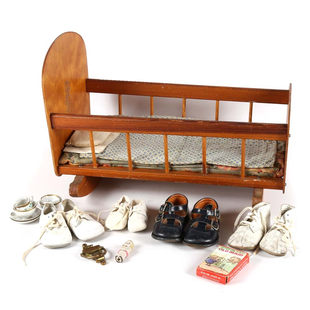 Vintage Doll Cradle and Children's Accessories