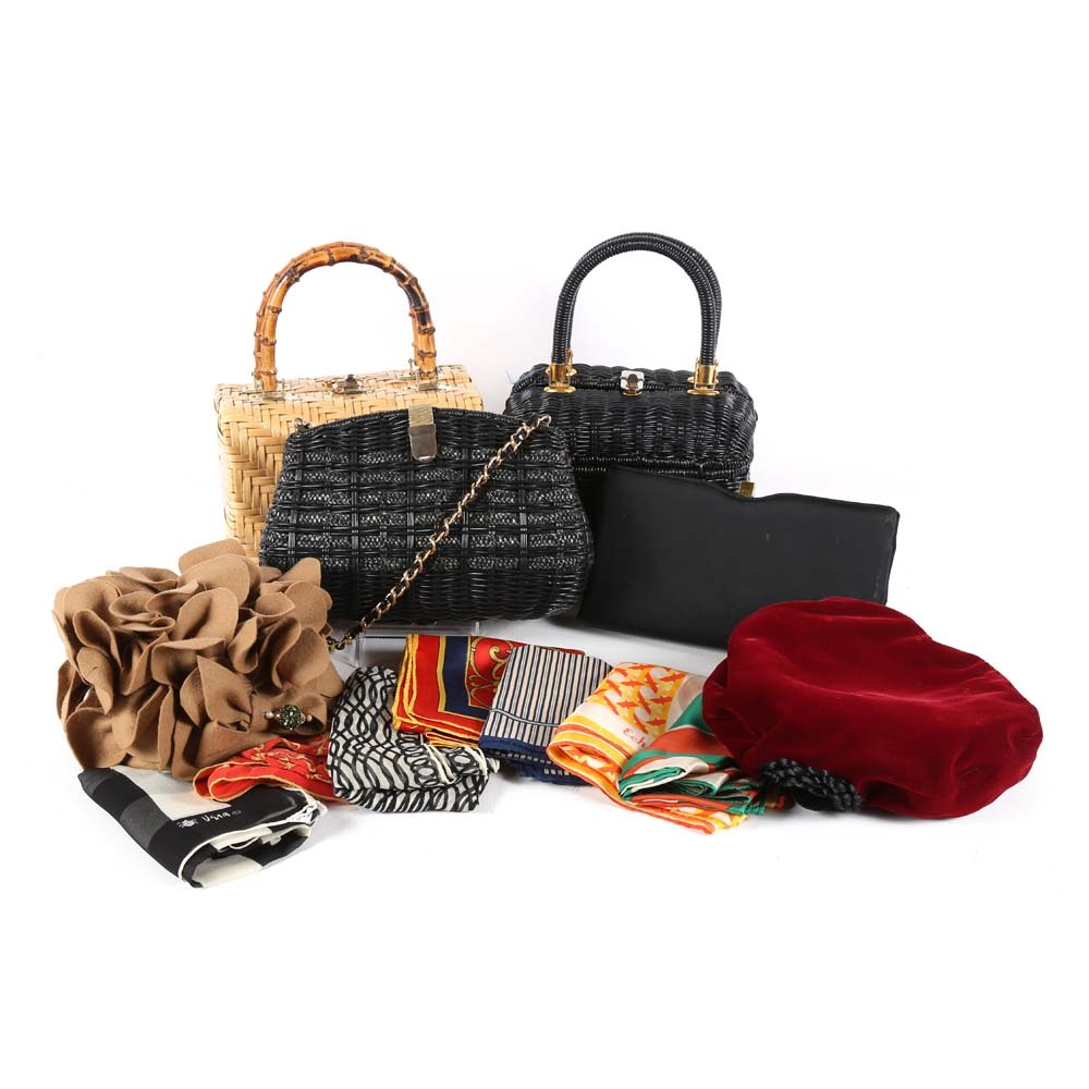 Women's Vintage Accessories Including Handbags, Scarves and an Adolfo II Hat