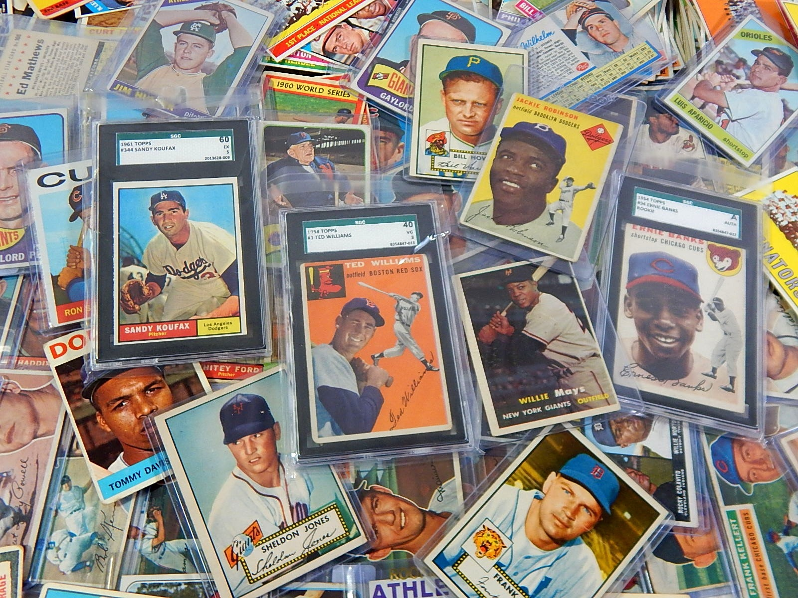 Over 300 Topps Baseball Cards from 1952 to 1966-Mantle, Banks RC, Mays, Williams