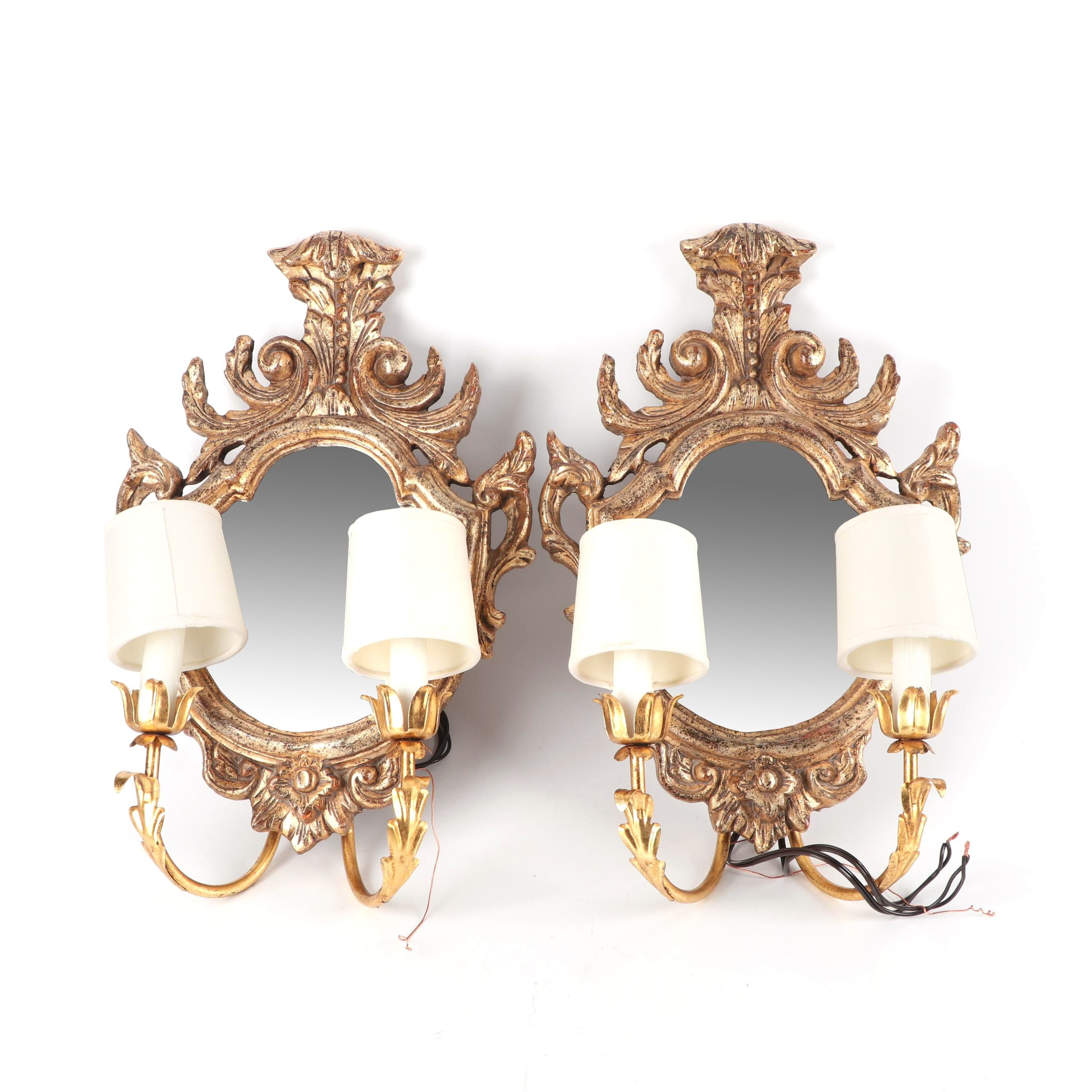 Gilt Wood and Gesso Mirrored Wall Sconces with Metalwork Arms