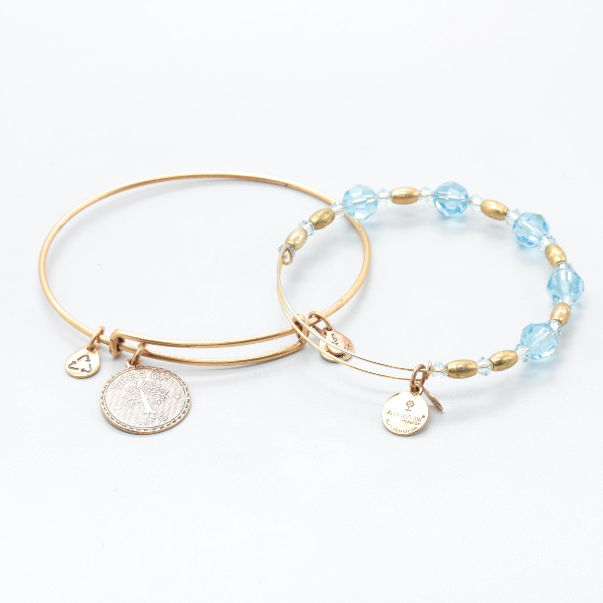Alex and Ani Gold Tone Bracelet Selection Including Glass Beads