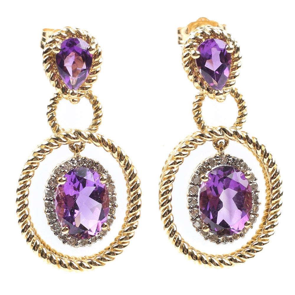 14K Yellow Gold 3.20 CTW Amethyst and Diamond Dangle Earrings
