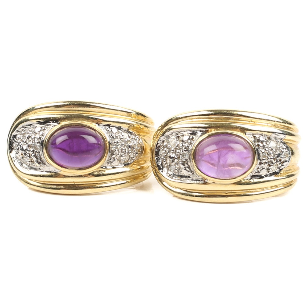 14K Yellow Gold 3.10 CTW Amethyst and Diamond Earrings
