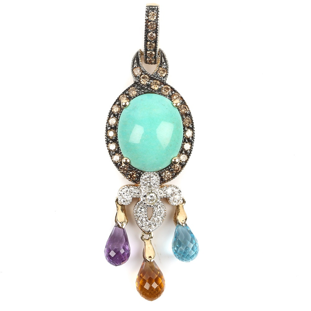 Le Vian 14K Yellow Gold Turquoise, Diamond, and Briolette Pendant
