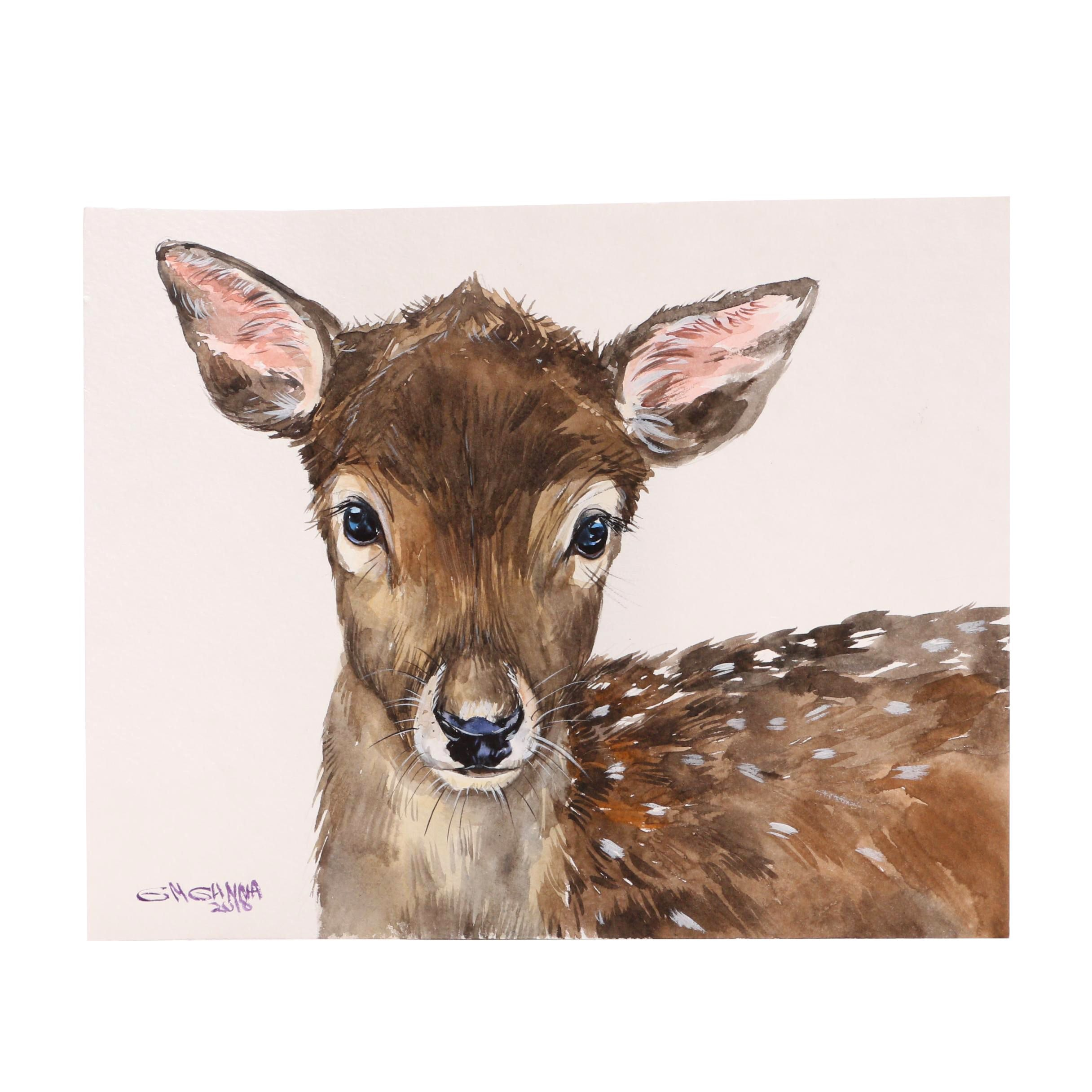 "Ganna Melnychenko Watercolor Painting ""Fallow Deer Fawn"""