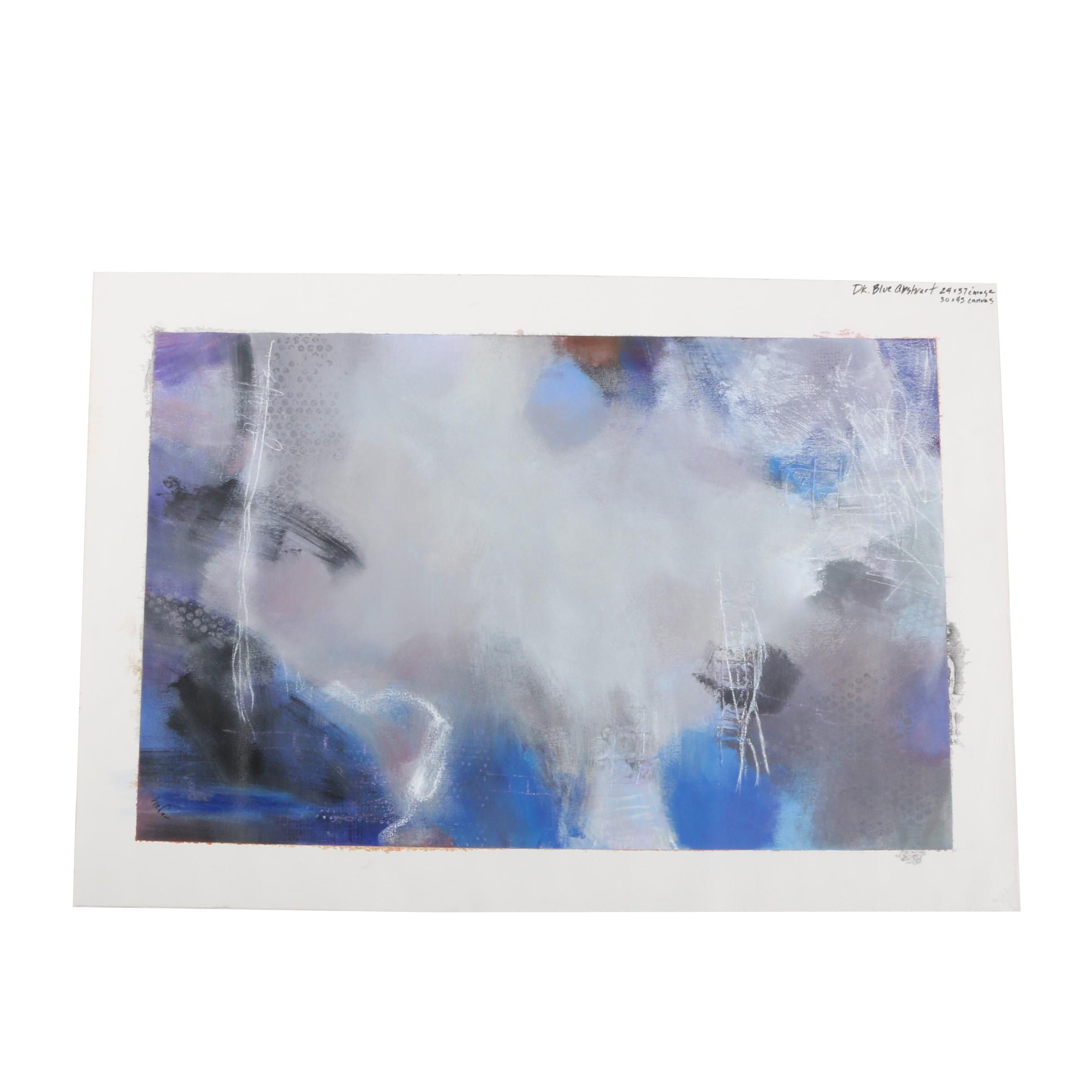 """Lee Hafer Acrylic Painting """"Dark Blue Abstract"""""""