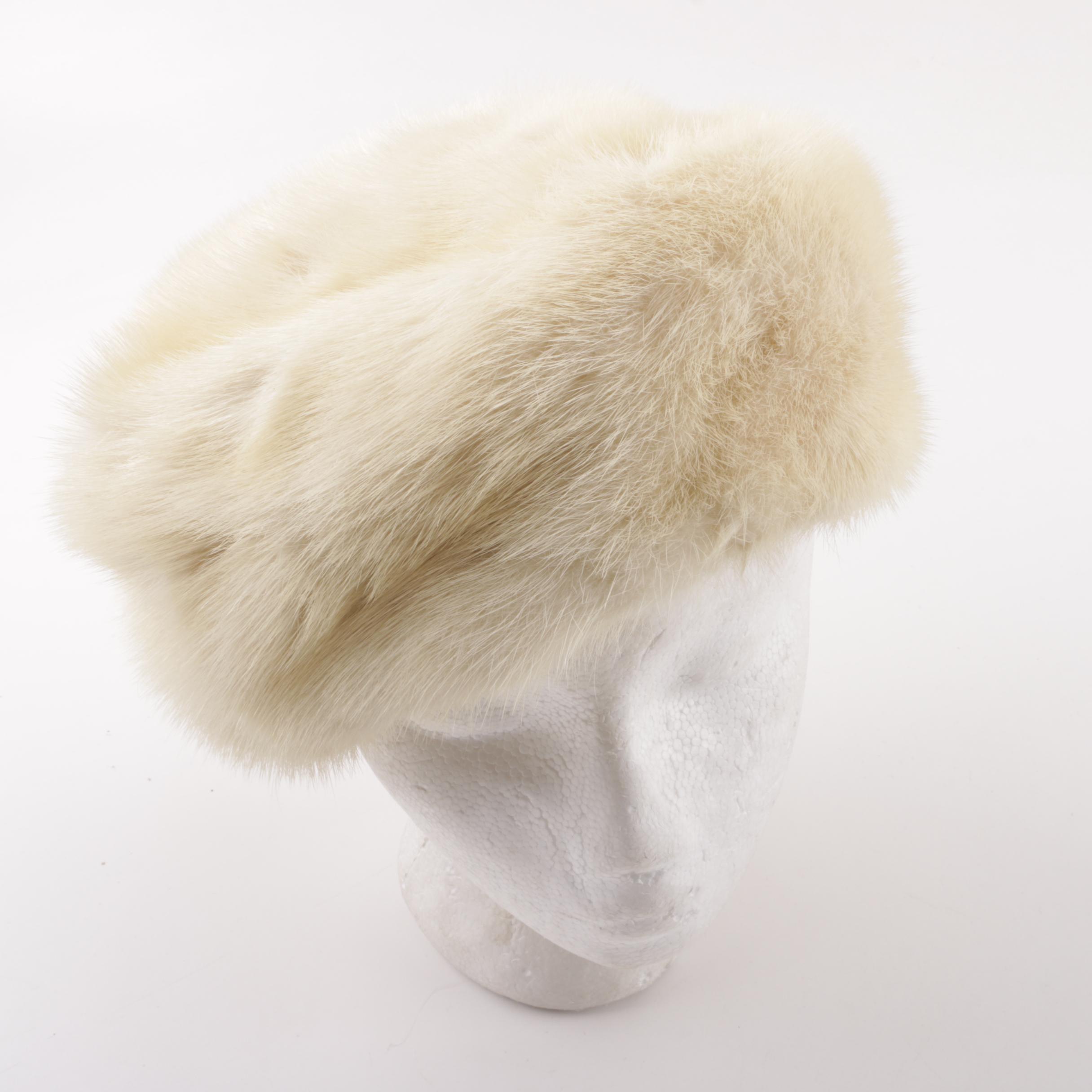 Vintage Ermine Fur Hat with Hat Pins