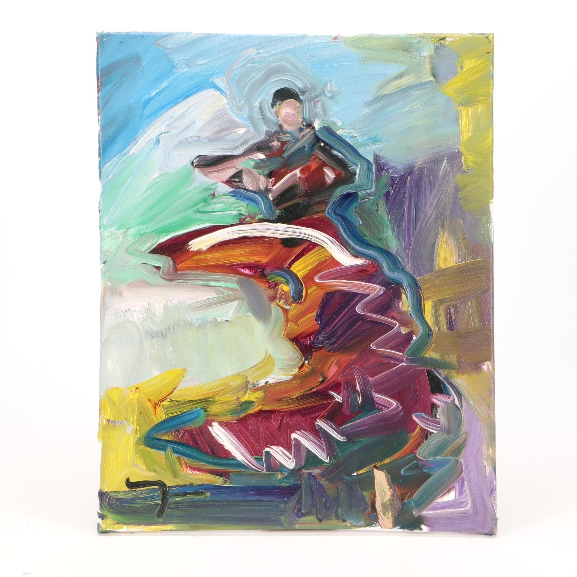 "Jose Trujillo Oil Painting on Canvas ""Flamenco Dancer"""