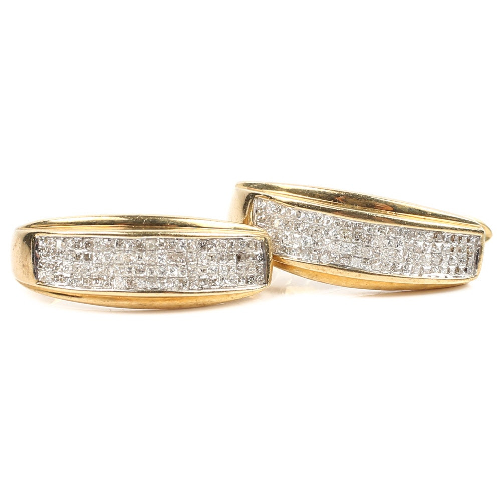 Alwand Vahan 10K Yellow Gold 1.00 CTW Princess Cut Diamond Hoop Earrings