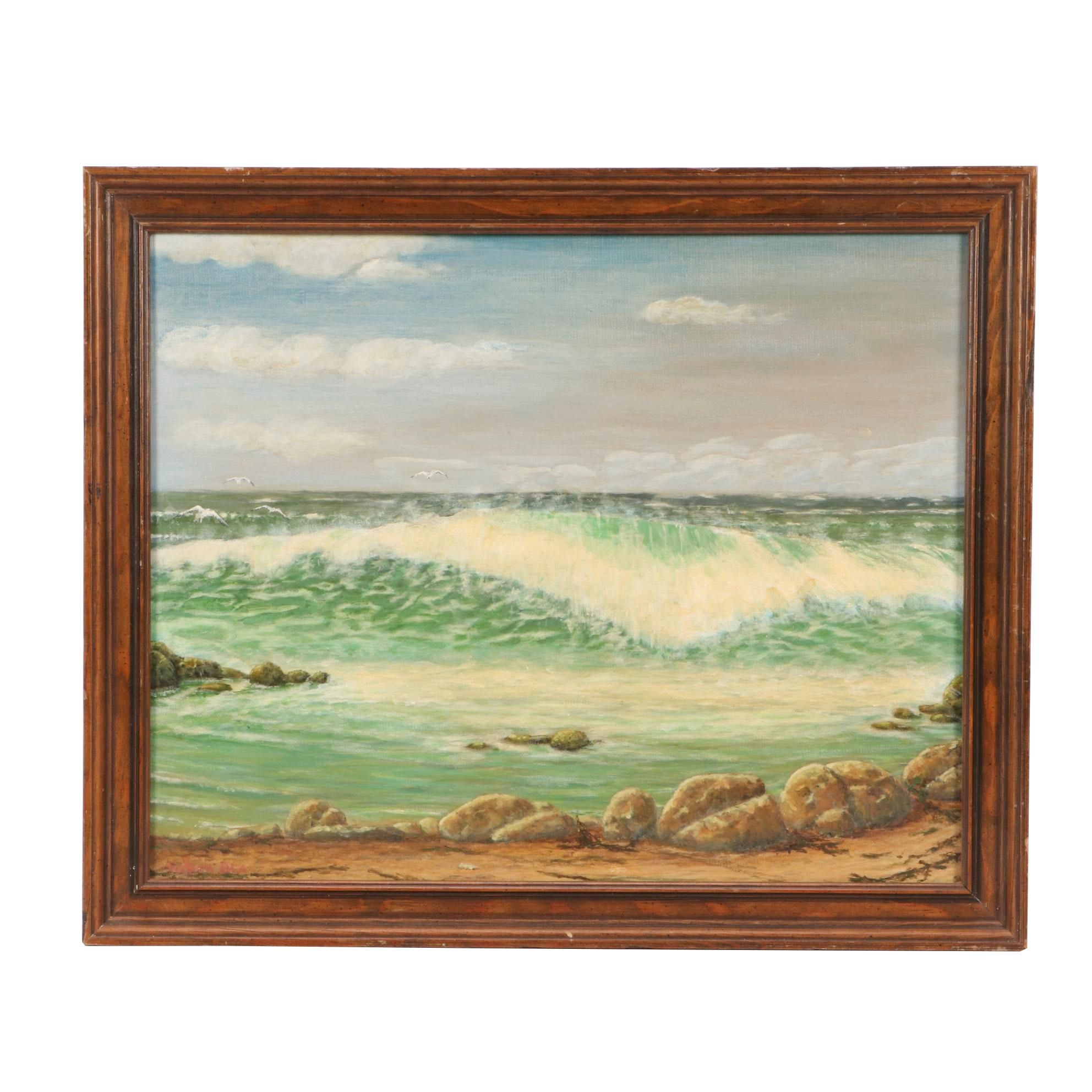 1981 Seascape Oil Painting on Canvas Board