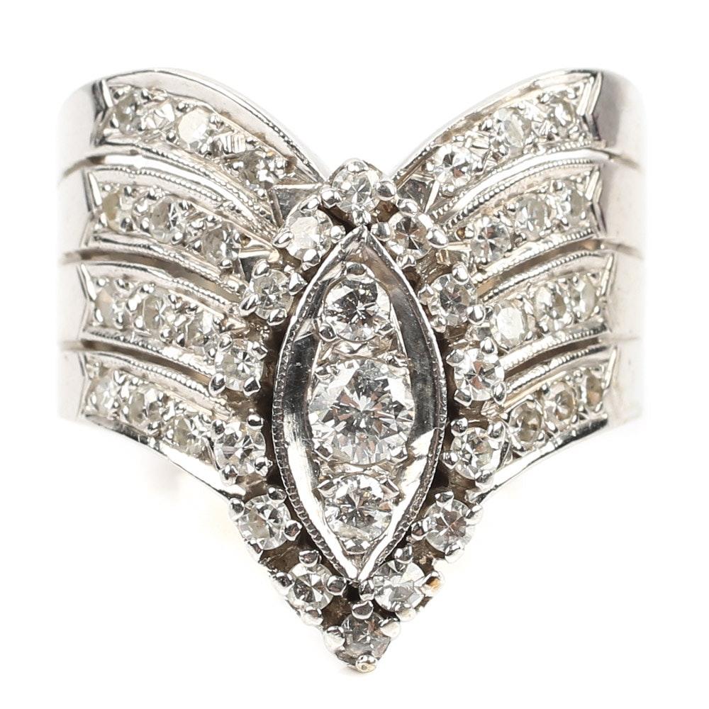 Vintage Harold Freeman 14K White Gold 1.00 CTW Diamond Cluster Ring