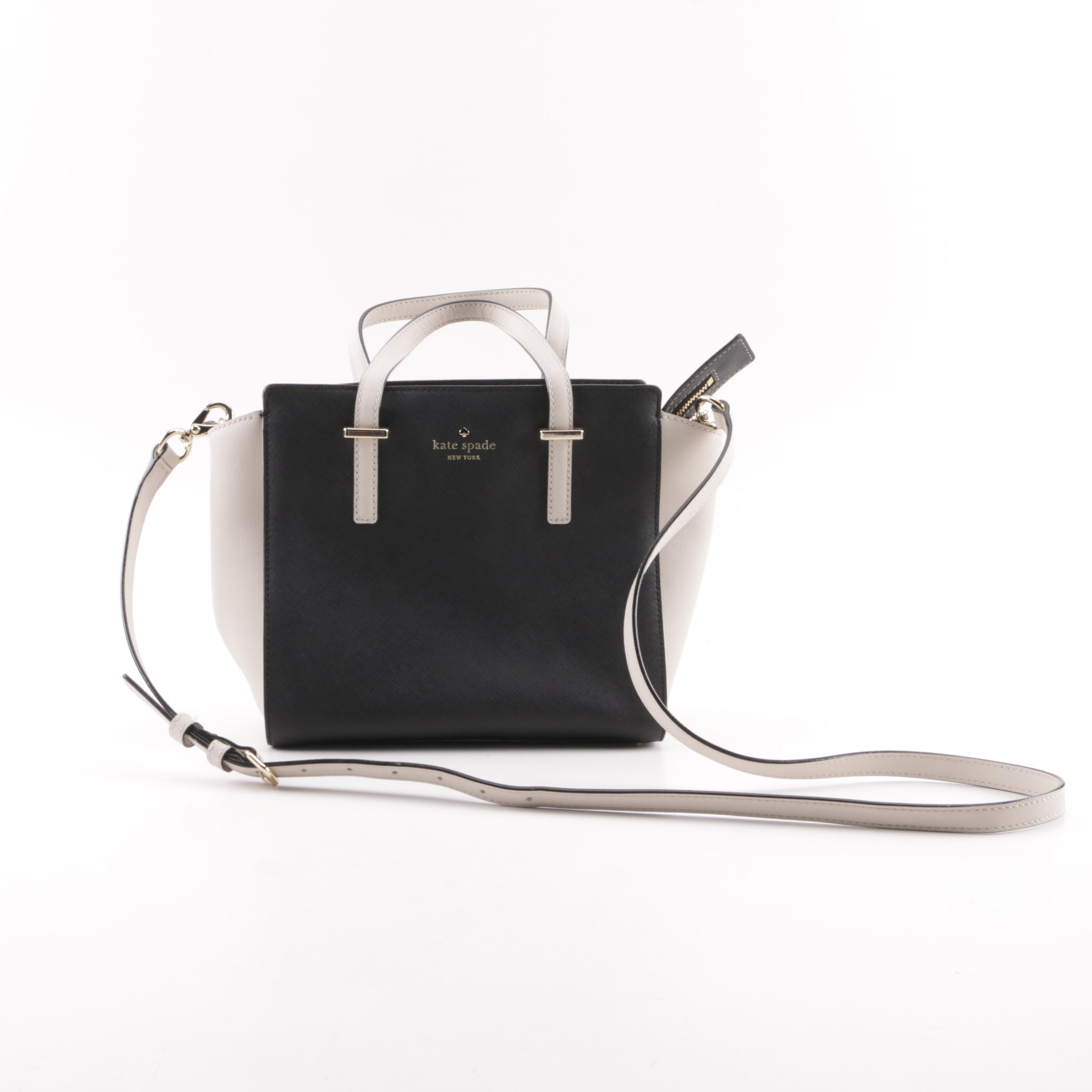 Kate Spade New York Black and Cream Crossgrain Leather Satchel