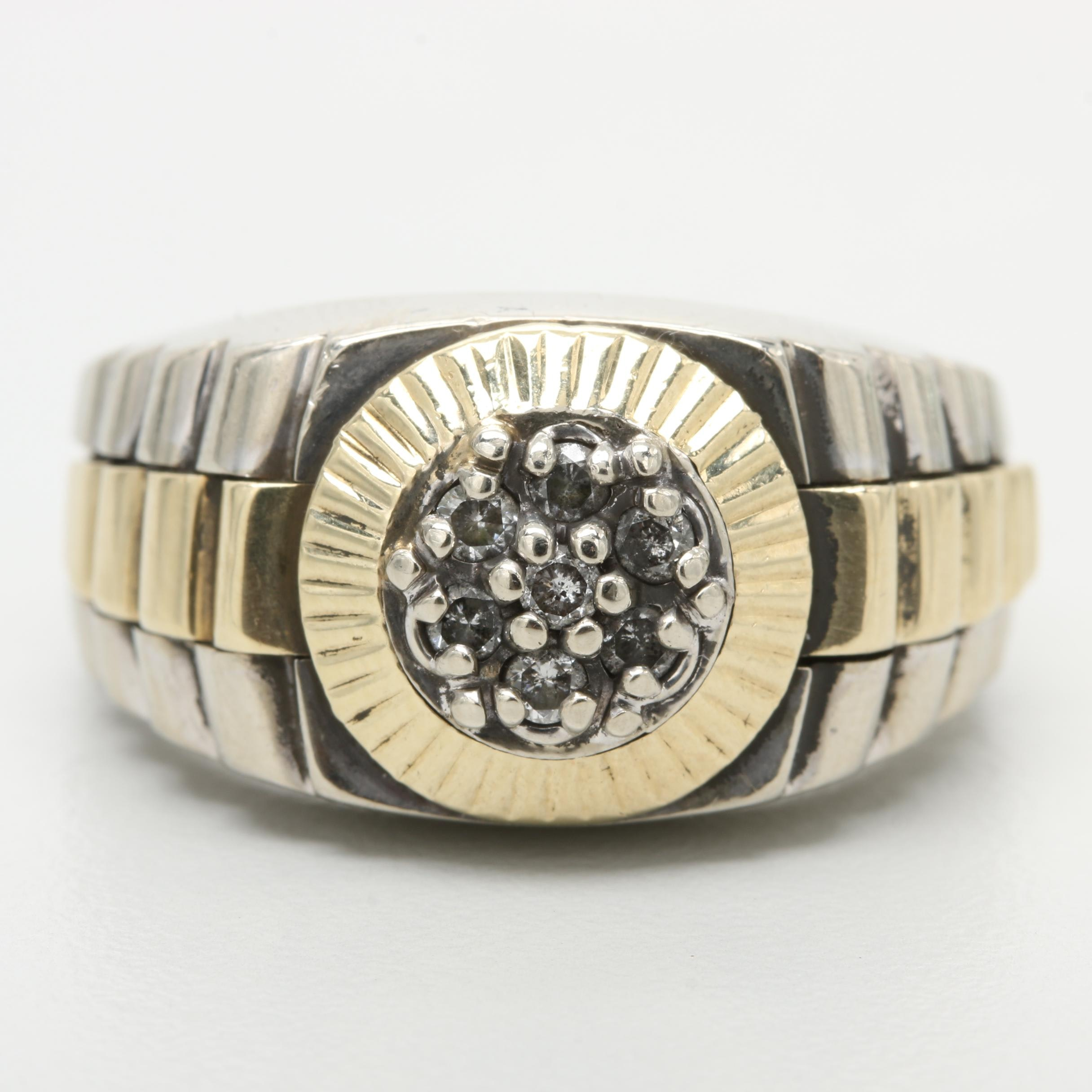 10K White and Yellow Gold Diamond Ring