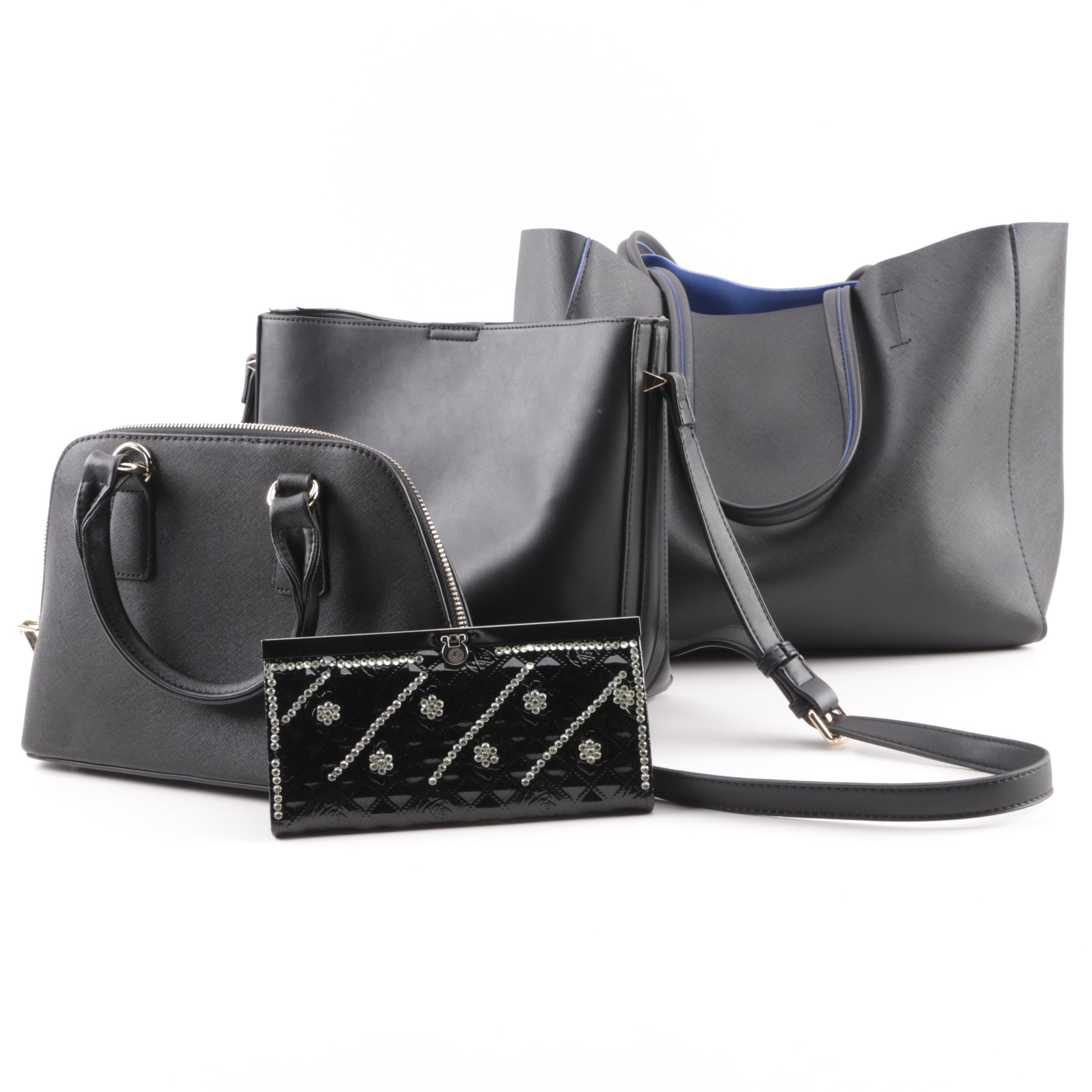 Black Faux Leather Tote, Satchel and Bucket Bag with Rhinestone Wallet Clutch