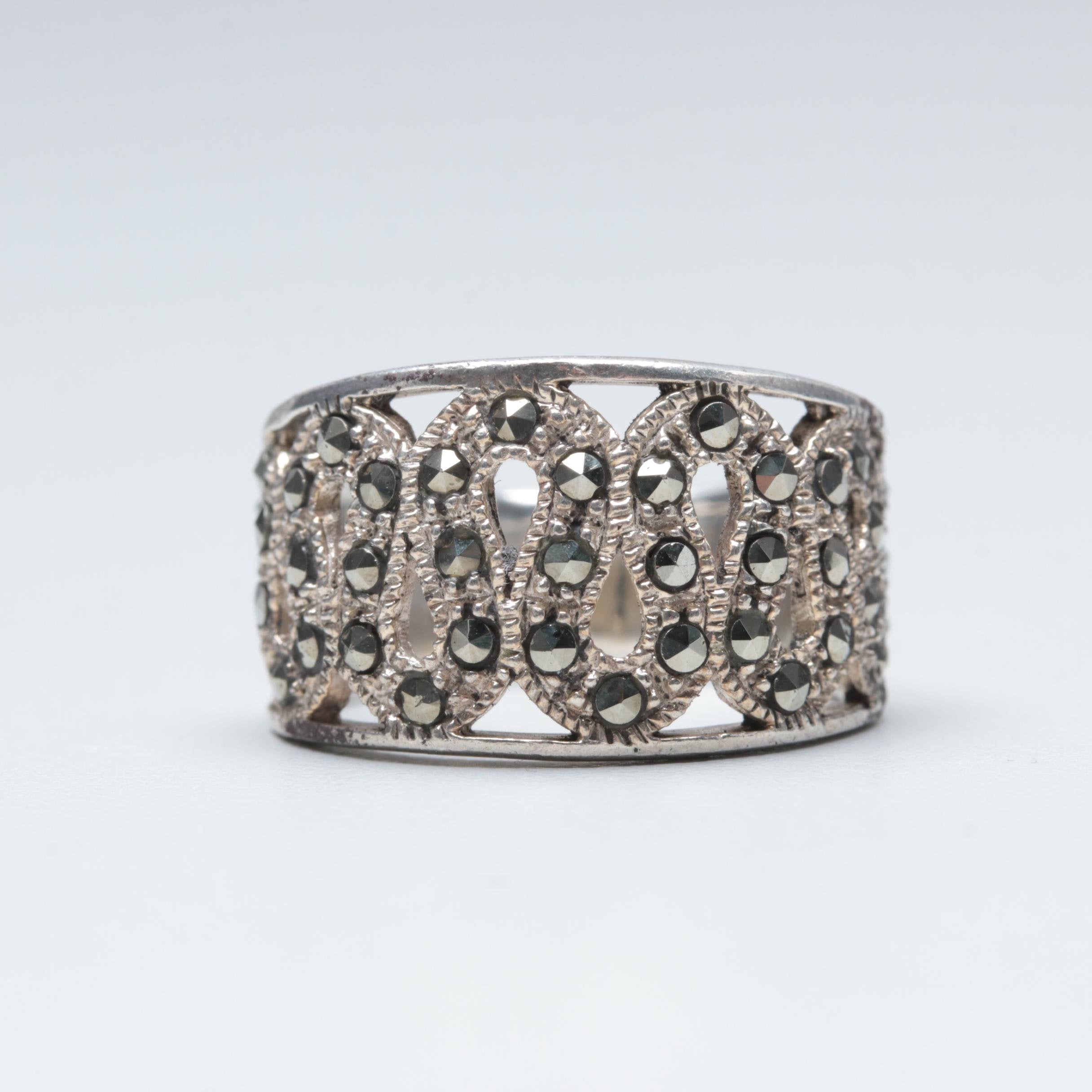 Sterling Silver Marcasite Snake Themed Ring